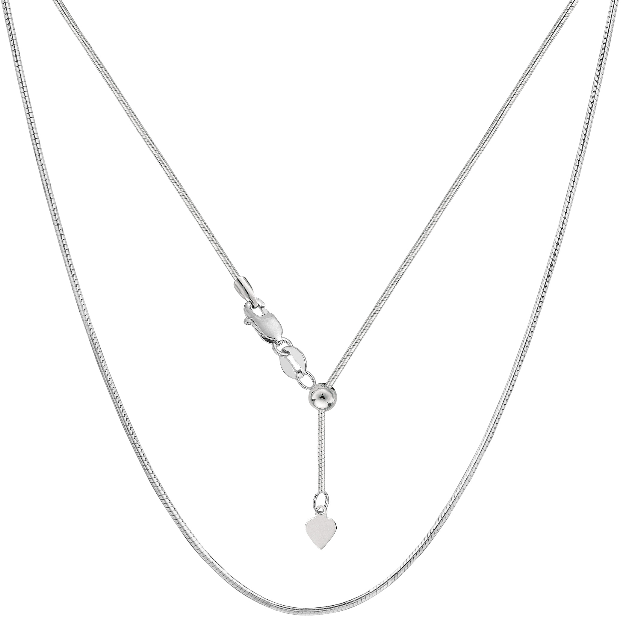 Sterling Silver Rhodium Plated Sliding Adjustable Snake Chain Necklace, Width 1.2mm, 22  Using it by itself or combining it with charms and pendants, this 22 inch long adjustable snake style chain is a perfect addition to any jewelry fashionista collection.