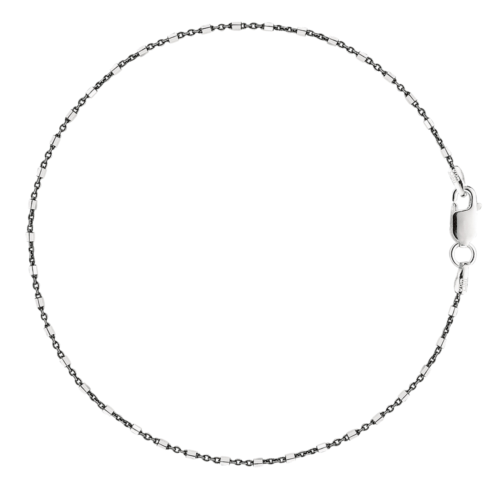 Black And White Barrel Bead Style Chain Anklet In Sterling Silver, 11″