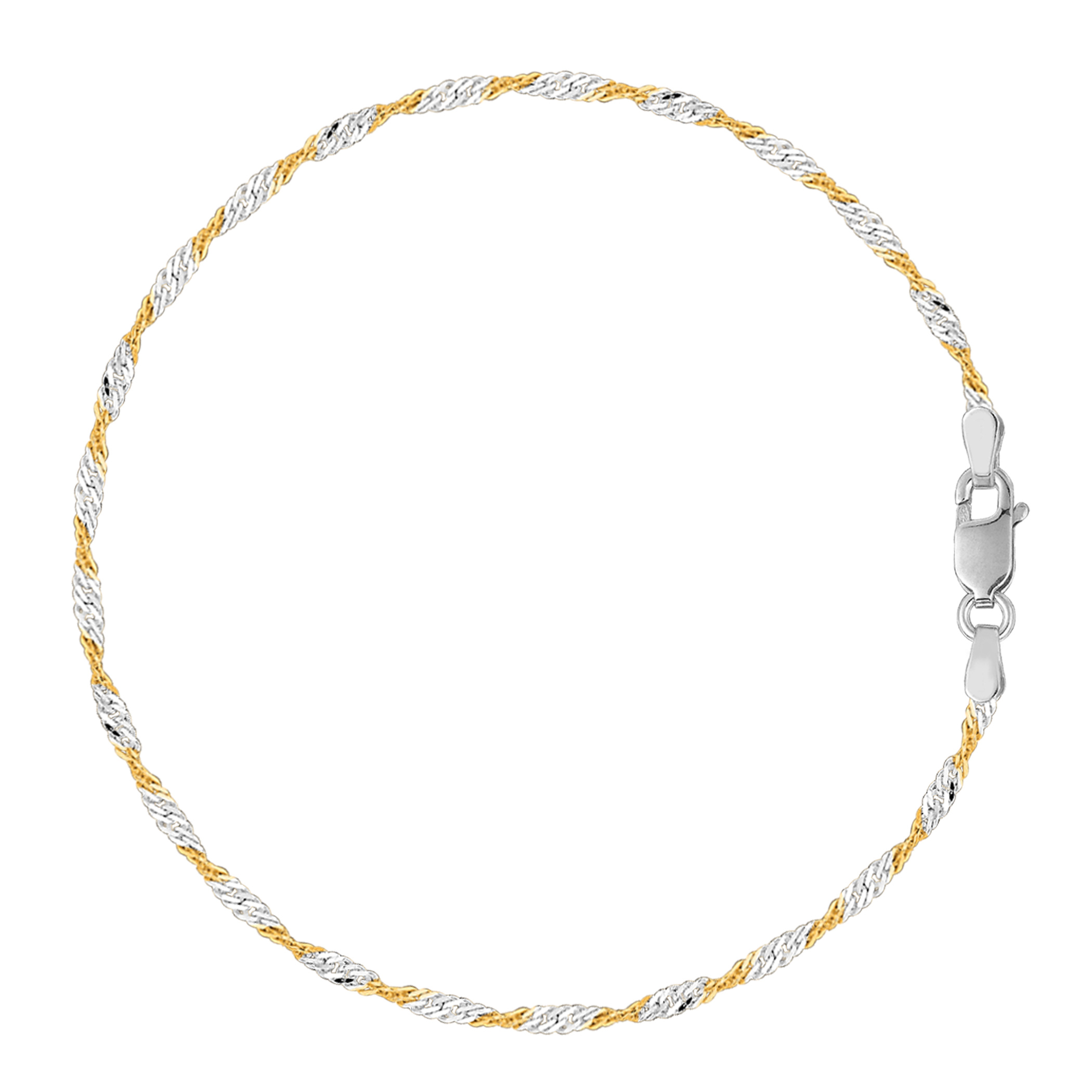 White And Yellow Singapore Style Chain Anklet In Sterling Silver, 9″