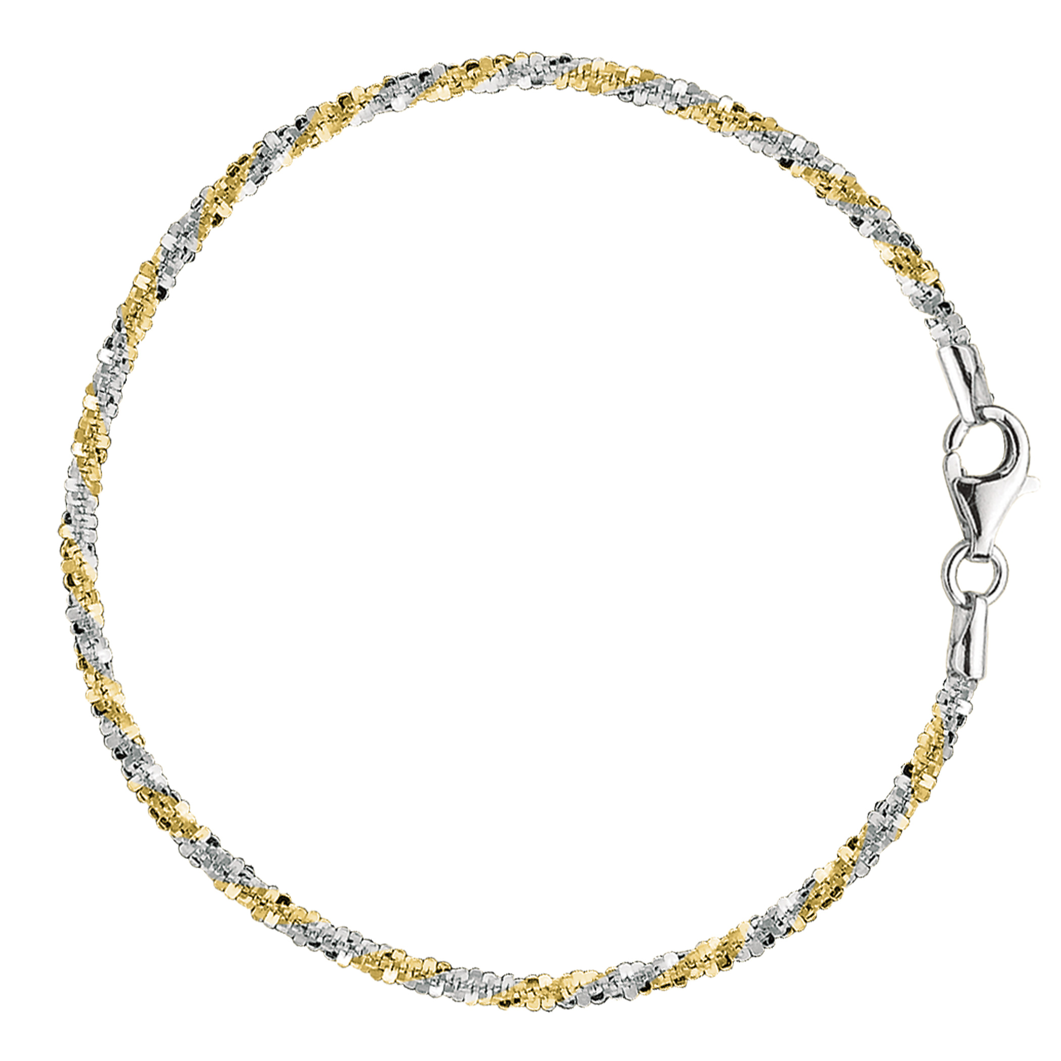 White And Yellow Sparkle Style Chain Anklet In Sterling Silver, 9″