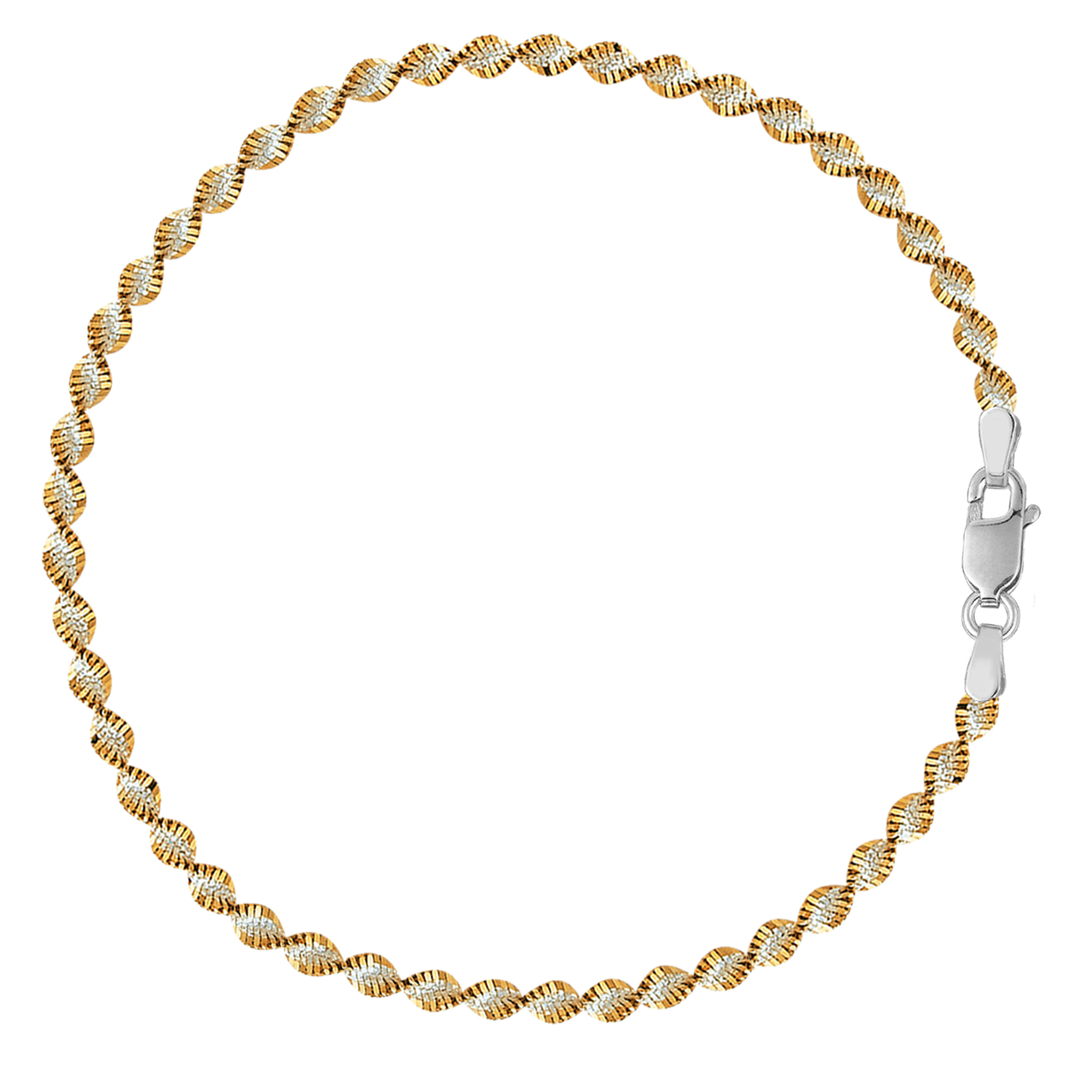 White And Yellow Singapore Style Chain Anklet In Sterling Silver, 11″