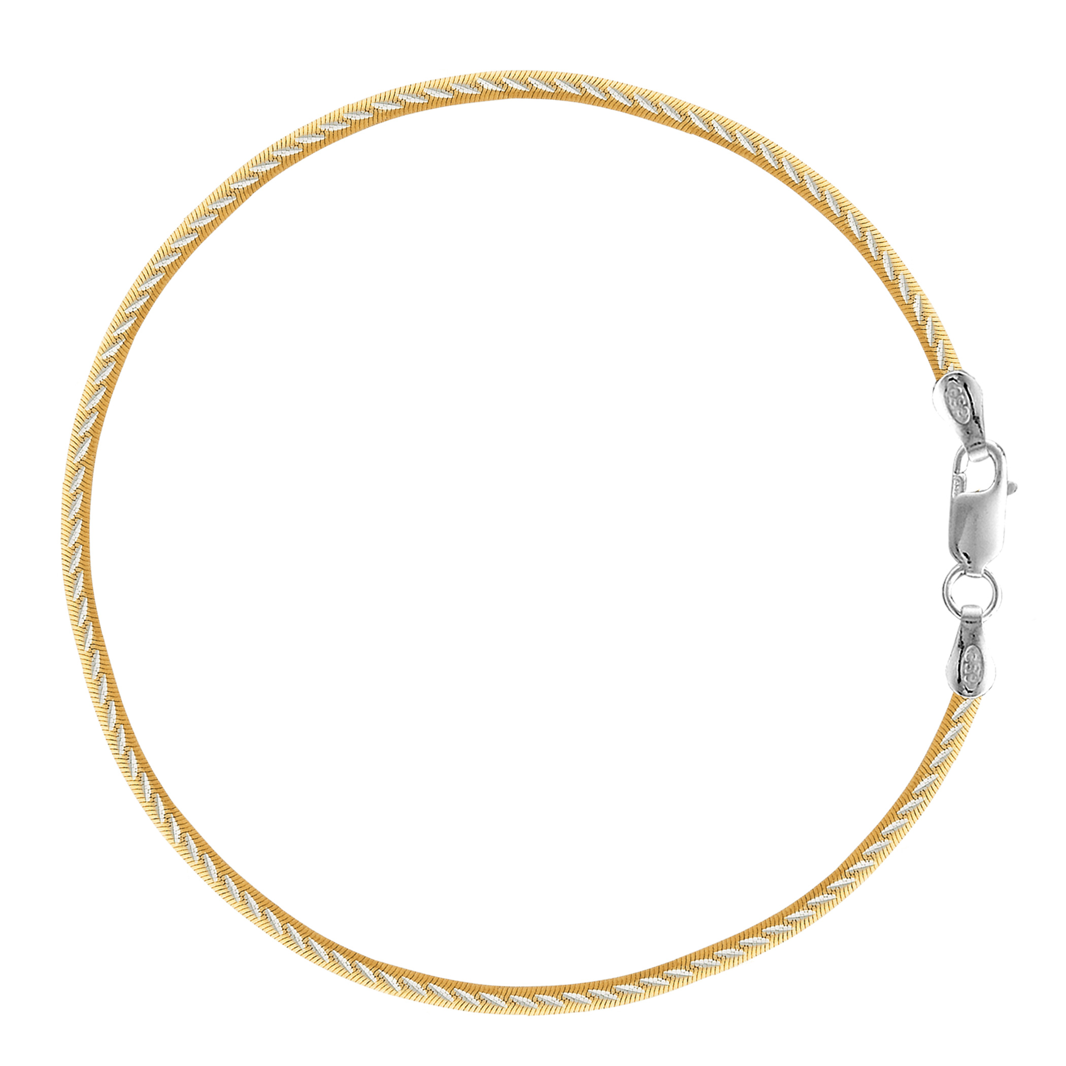 White And Yellow Diamond Cut Snake Chain Anklet In Sterling Silver, 10″
