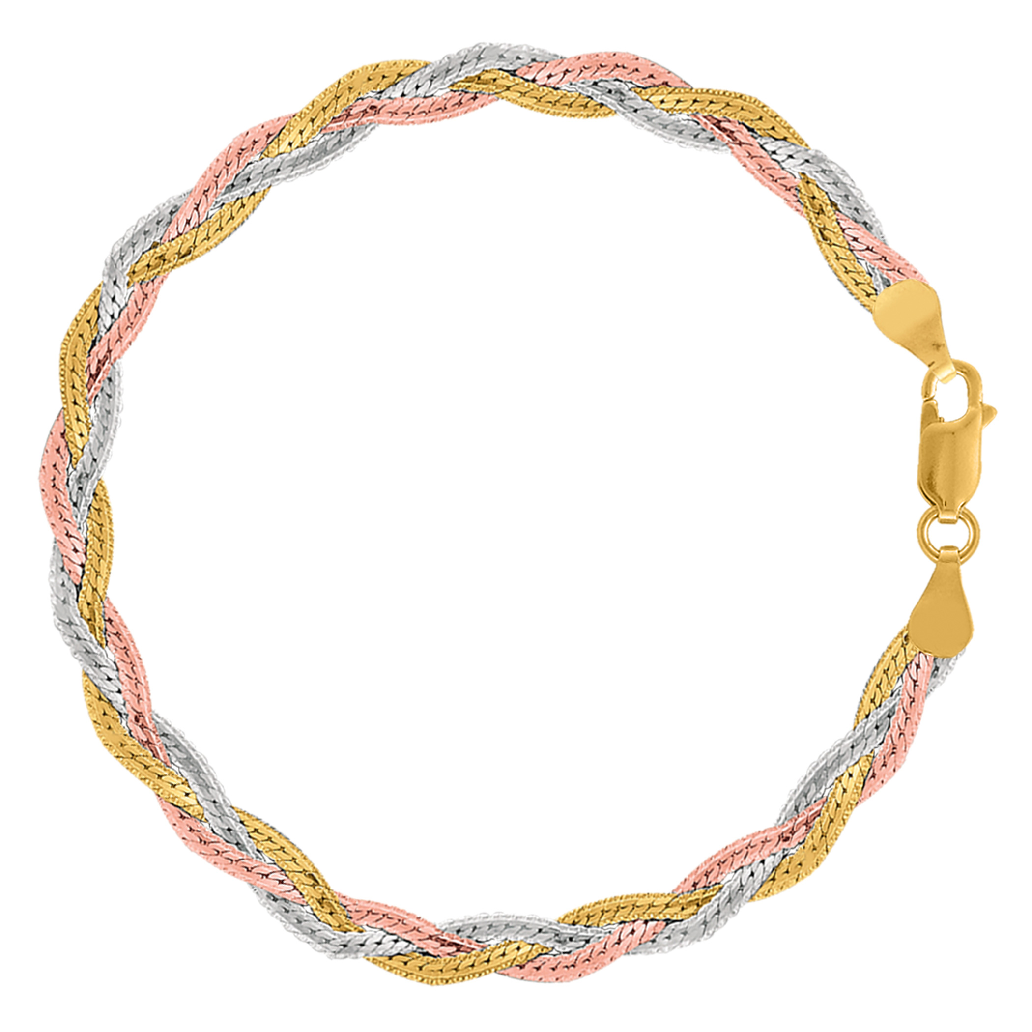 Tricolor Braided Snake Chain Anklet In Sterling Silver, 10″