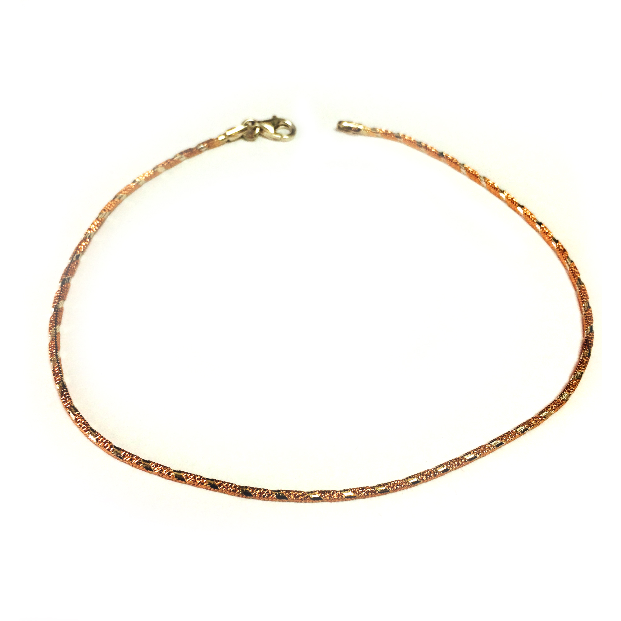 Pink And White Diamond Cut Anklet In Sterling Silver, 10″