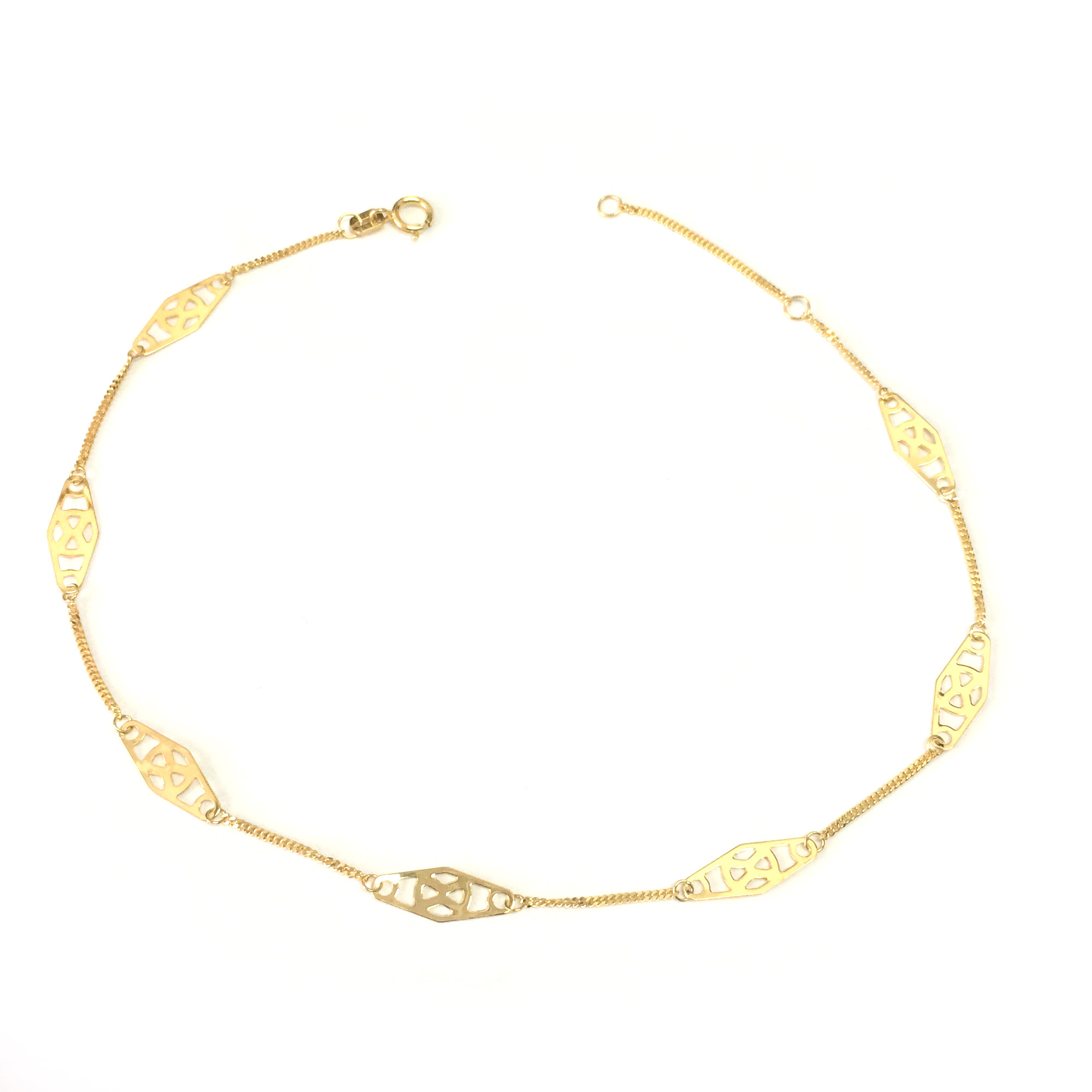 14K Yellow Gold Twisted Bar Fancy Anklet, 10″