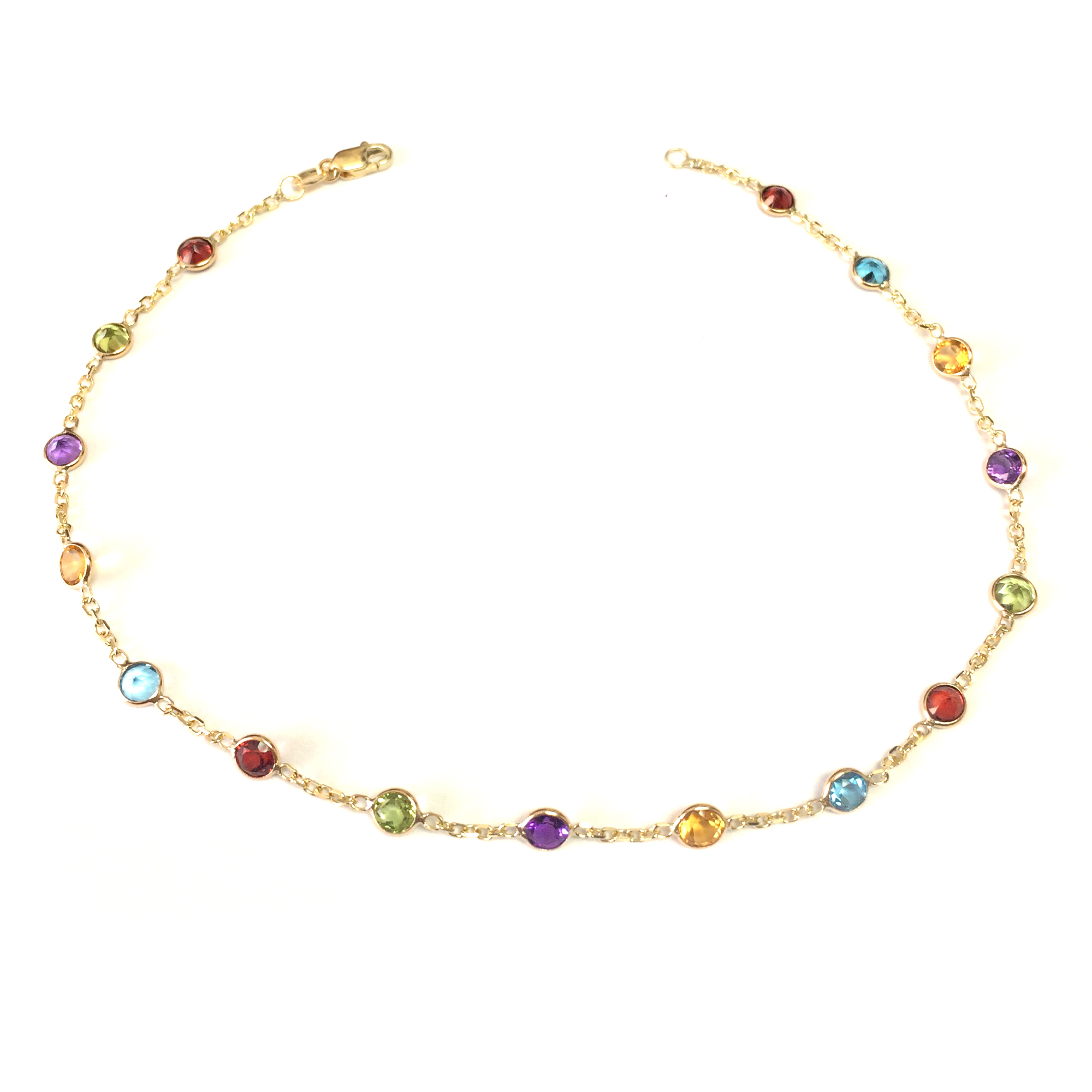 14k Yellow Gold Cable Chain Link Anklet And Alternate Round Faceted 5 Color Stones, 10″