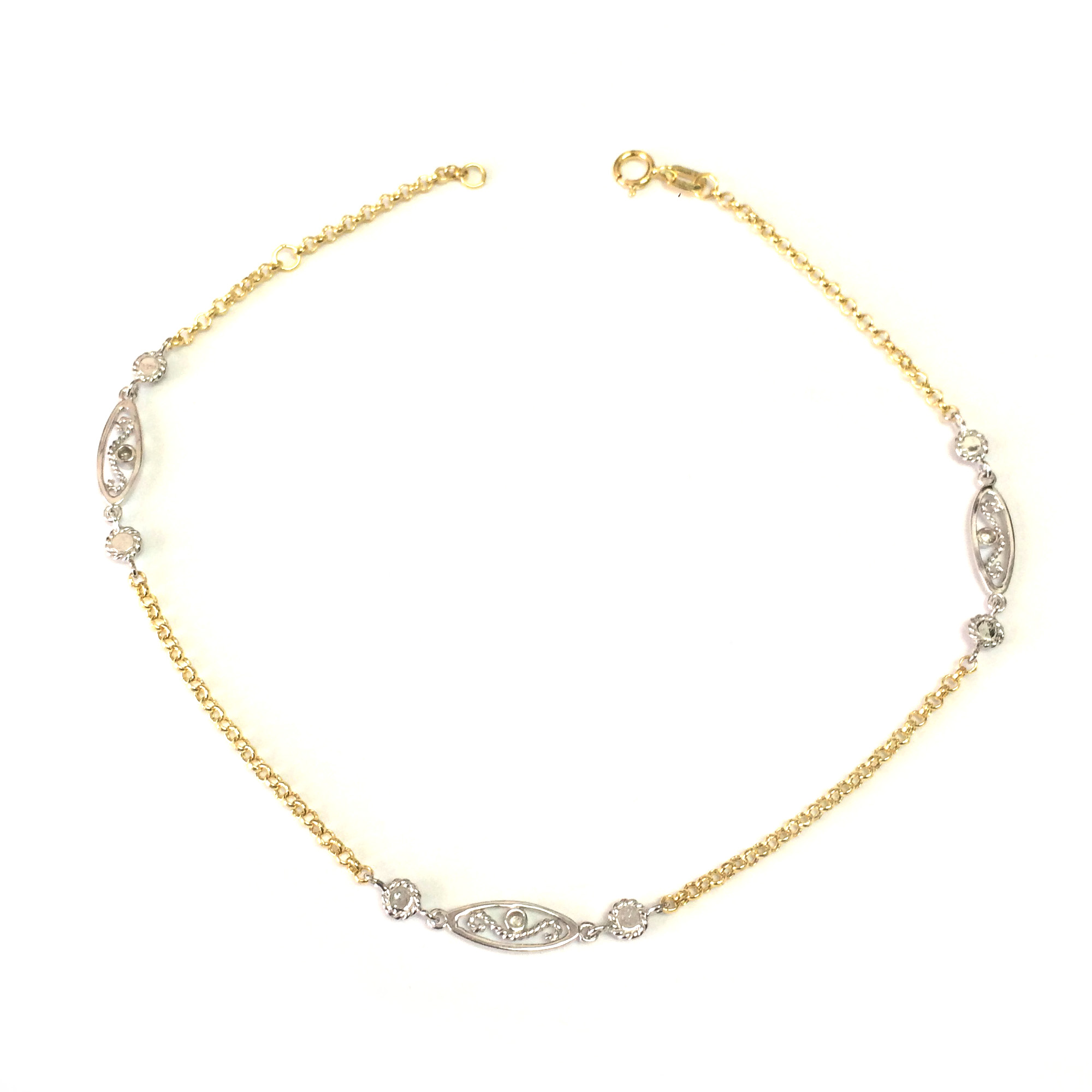 14K Yellow And White Gold Charms Fancy Anklet, 10″