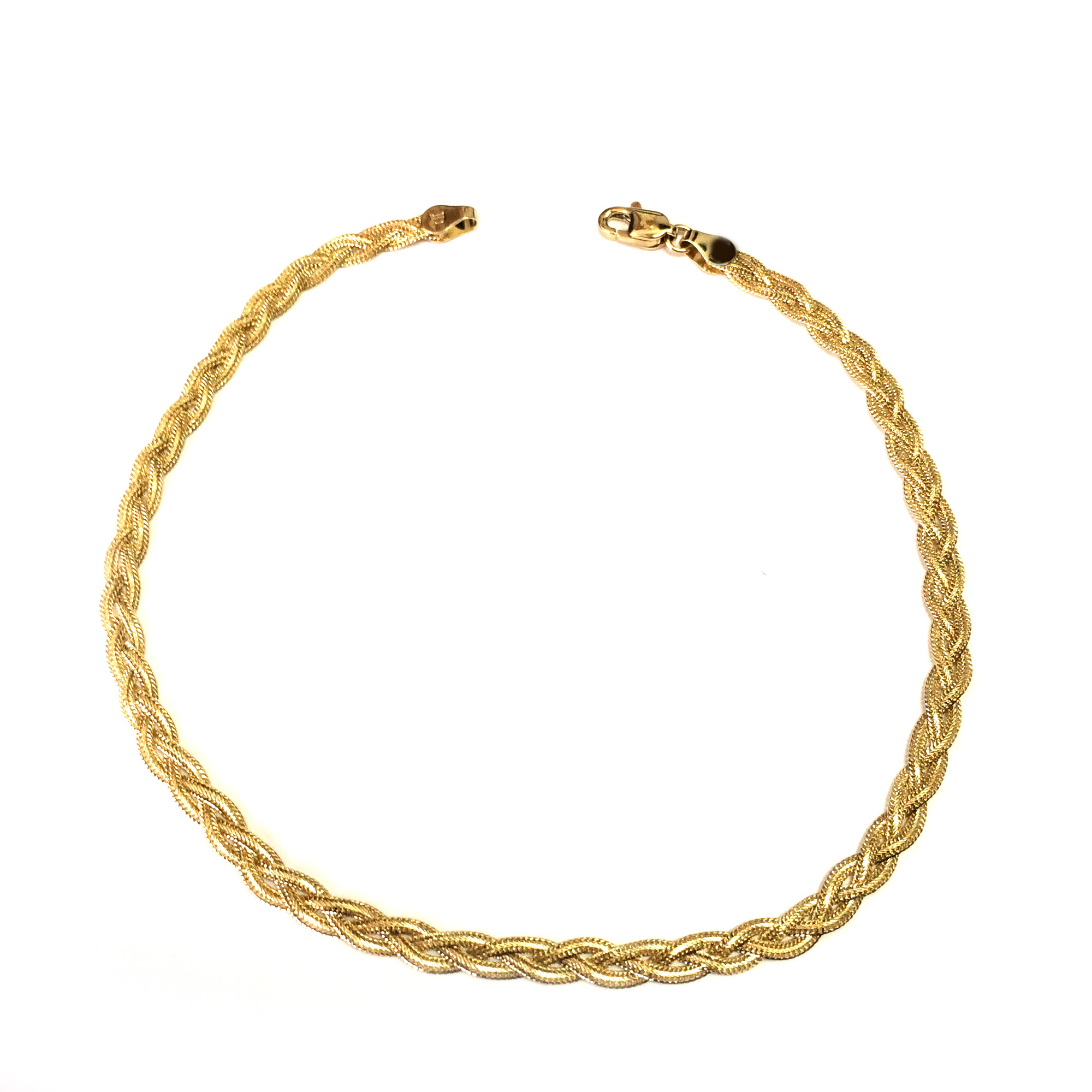 14K Yellow Gold Diamond Cut Braided Fox Chain Anklet, 10″