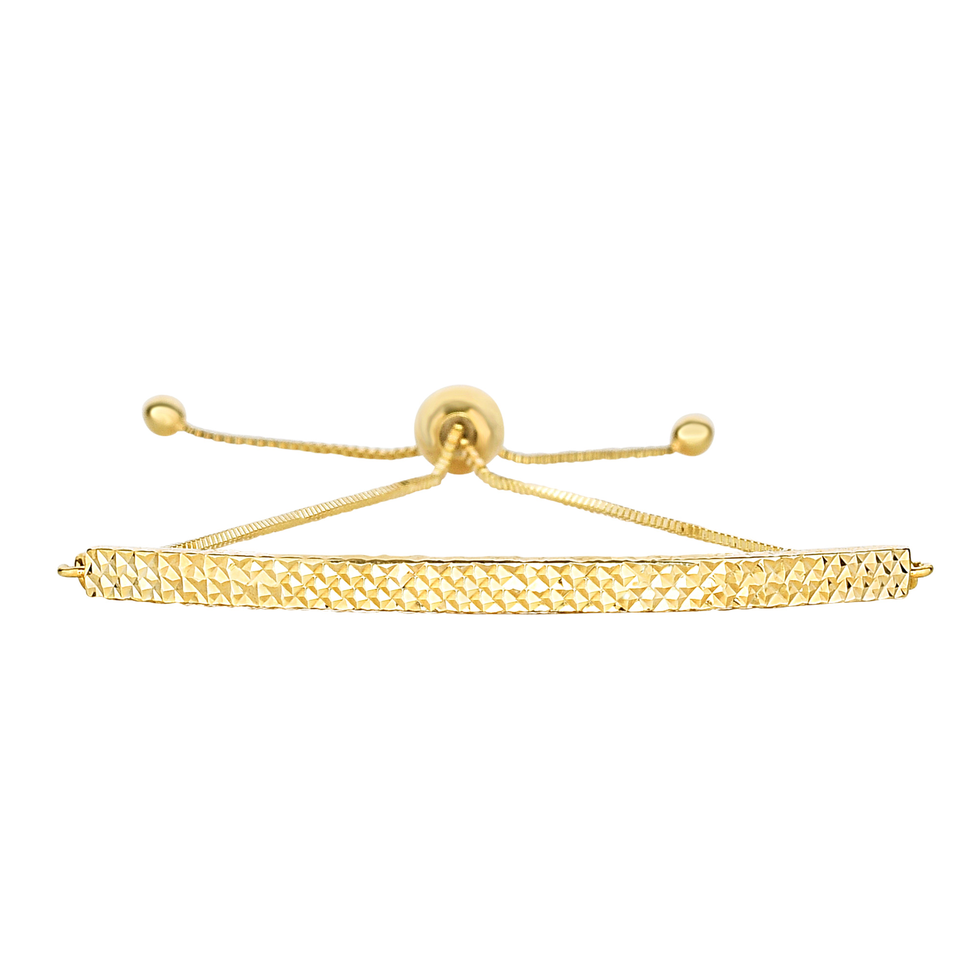 14K Yellow Gold Diamond Cut Curved Bar Element Anchored on Box Chain Adjustable Bracelet , 9.25  Crafted in 14K gold, Our BOLO friendship line of bracelets are stylish easy to wear and a one of a kind collection. Meticulously executed in high quality finish 14K gold, these iconic bracelets are easily adjusted to fit any wrist. Each unique style of our Friendship collection looks beautiful worn as one piece alone or stacked with multiple styles for a layered and modern look. The bracelet comes in an elegant jewelry gift box, perfect for any gift giving occasion.