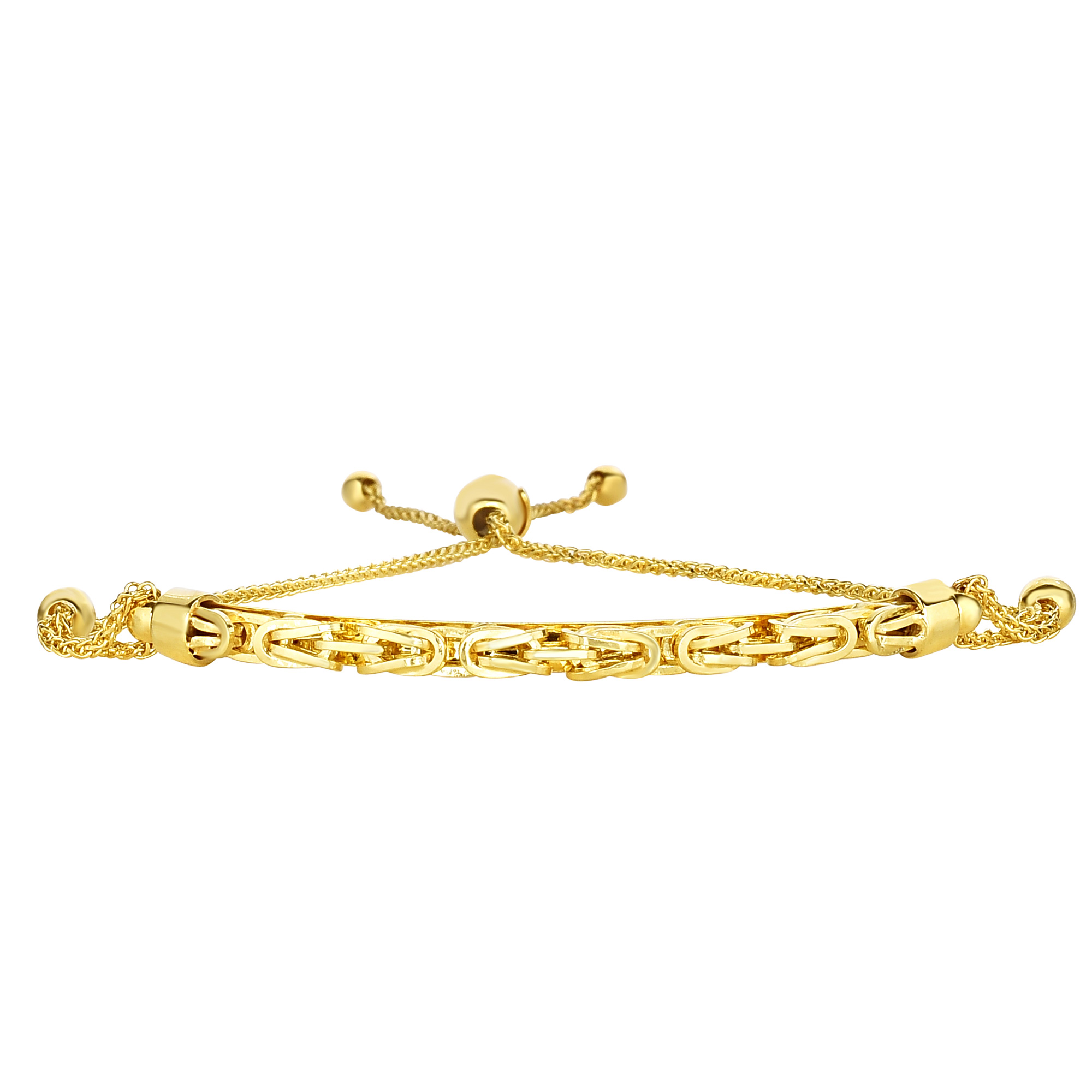 14K Yellow Gold Round Diamond Cut Wheat Adjustable Bracelet Arched Byzantine Center, 9.25  Crafted in 14K gold, Our BOLO friendship line of bracelets are stylish easy to wear and a one of a kind collection. Meticulously executed in high quality finish 14K gold, these iconic bracelets are easily adjusted to fit any wrist. Each unique style of our Friendship collection looks beautiful worn as one piece alone or stacked with multiple styles for a layered and modern look. The bracelet comes in an elegant jewelry gift box, perfect for any gift giving occasion.