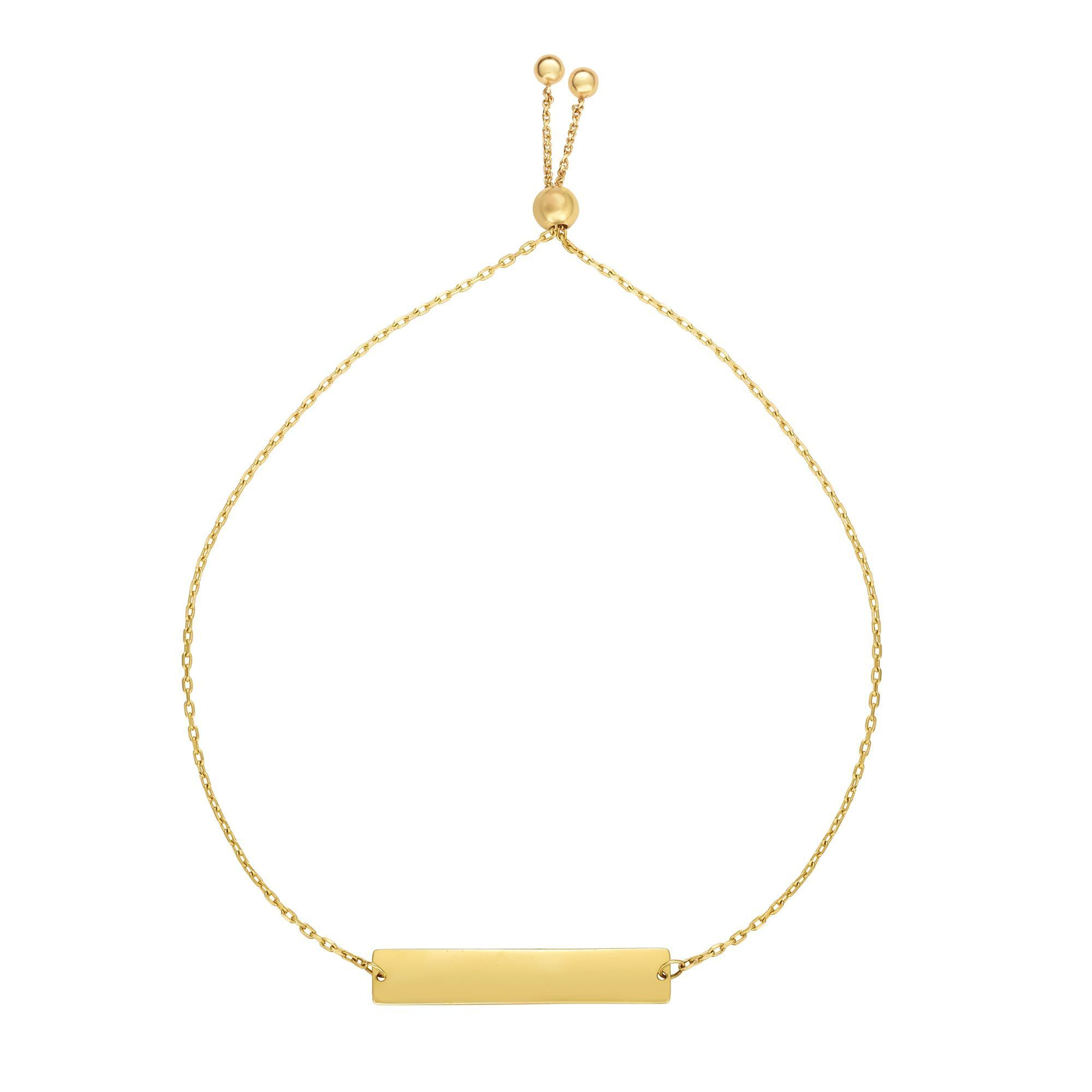 14k Yellow Gold Adjustable Personalized Bar Charm Bolo Bracelet, 9.25  Crafted in 14K yellow gold, our Bolo friendship line of bracelets are stylish easy to wear and a one of a kind collection. Meticulously executed in high quality finish 14K gold, these iconic bracelets are easily adjusted to fit any wrist. Each unique style of our Friendship collection looks beautiful worn as one piece alone or stacked with multiple styles for a layered and modern look. This bar bracelet weight is at 1.7 grams and has a high polished finsh. bracelet can be engraved. Please contact us with your request.