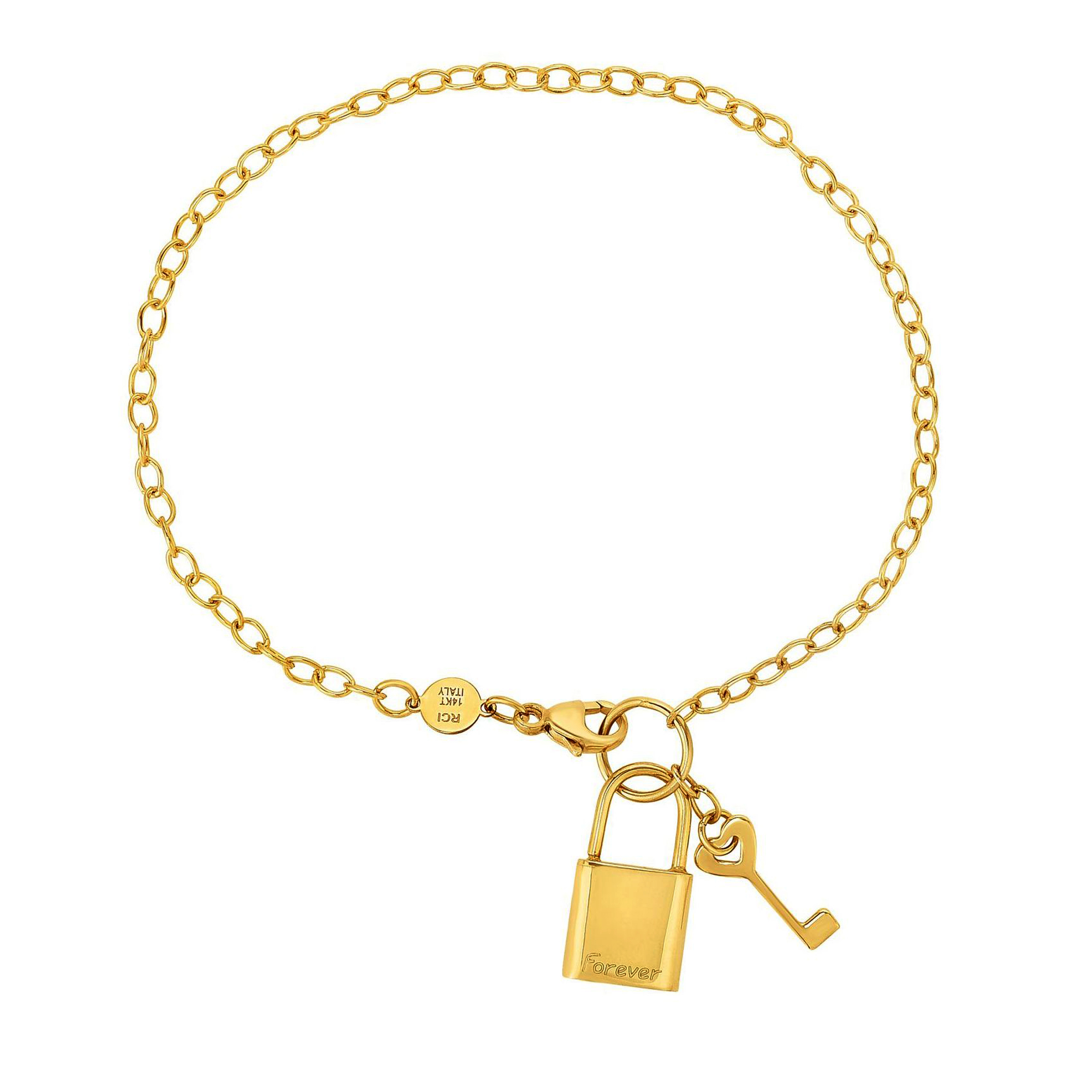 14k Yellow Gold Chain Lock And Key Bracelet, 7.5″