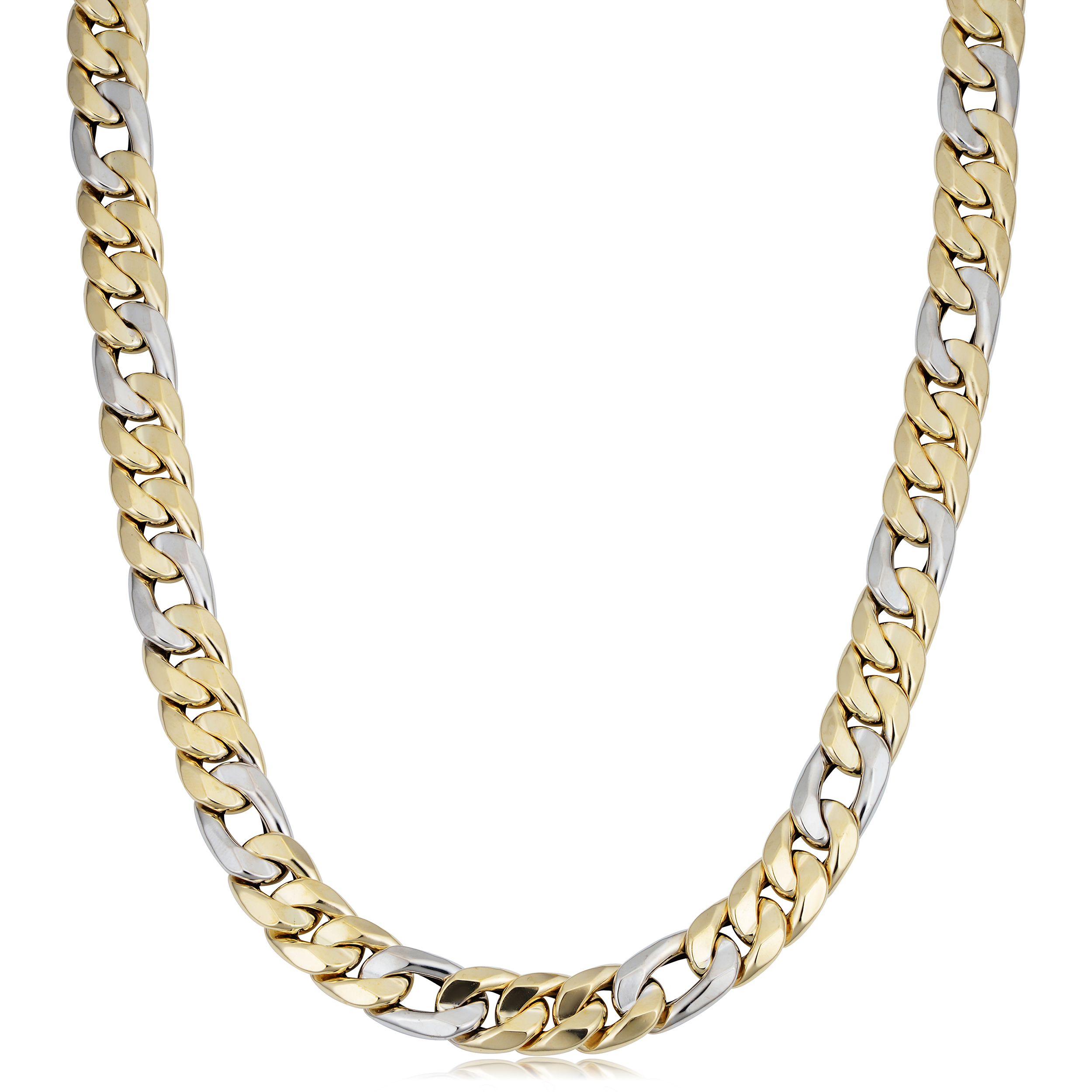 114a2a028ba77 Details about 14k Yellow And White Gold Miami Cuban Curb Hollow Link Mens  Necklace, 22
