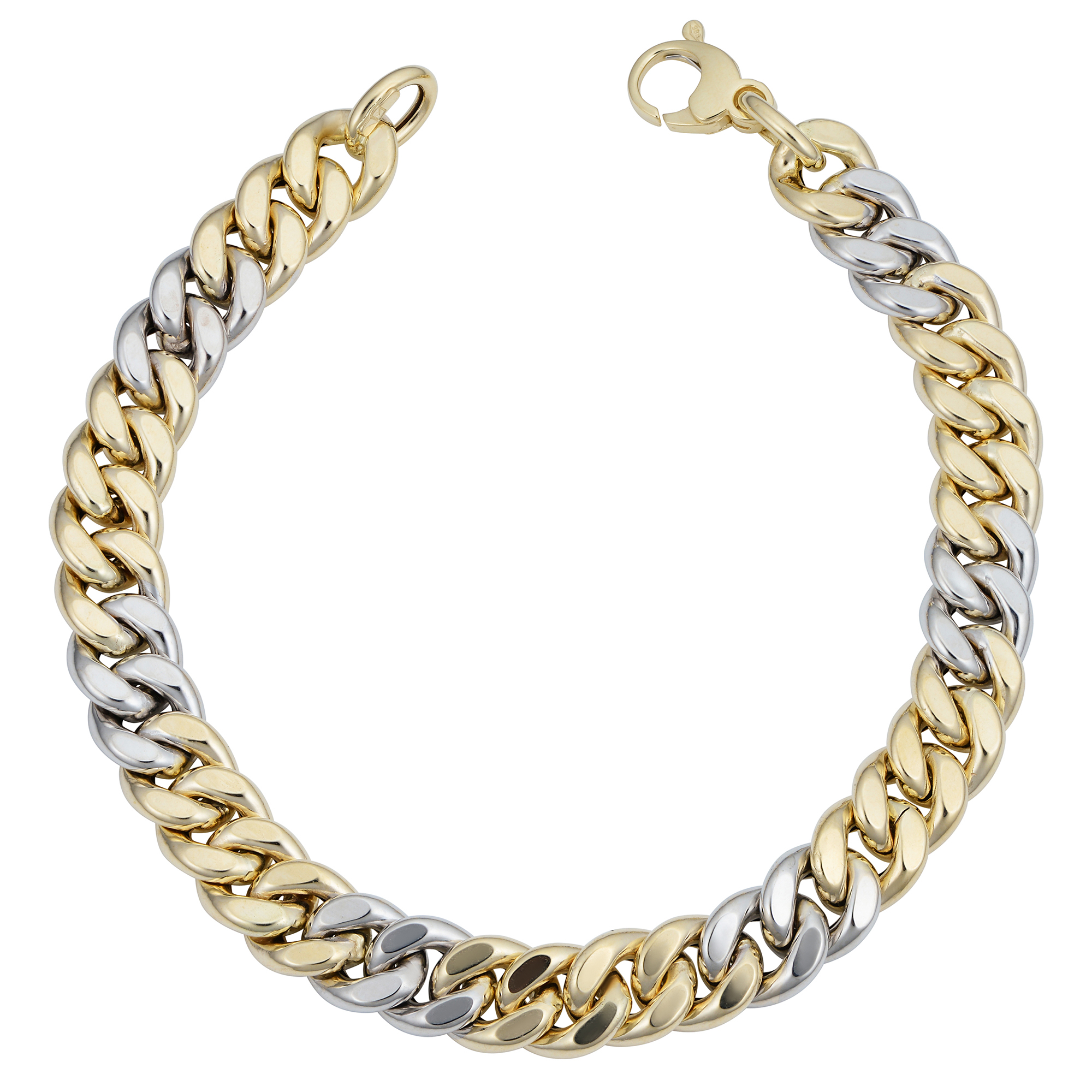 2c20175290730 Details about 14k Yellow And White Gold Miami Cuban Curb Hollow Link Mens  Bracelet, 8.5