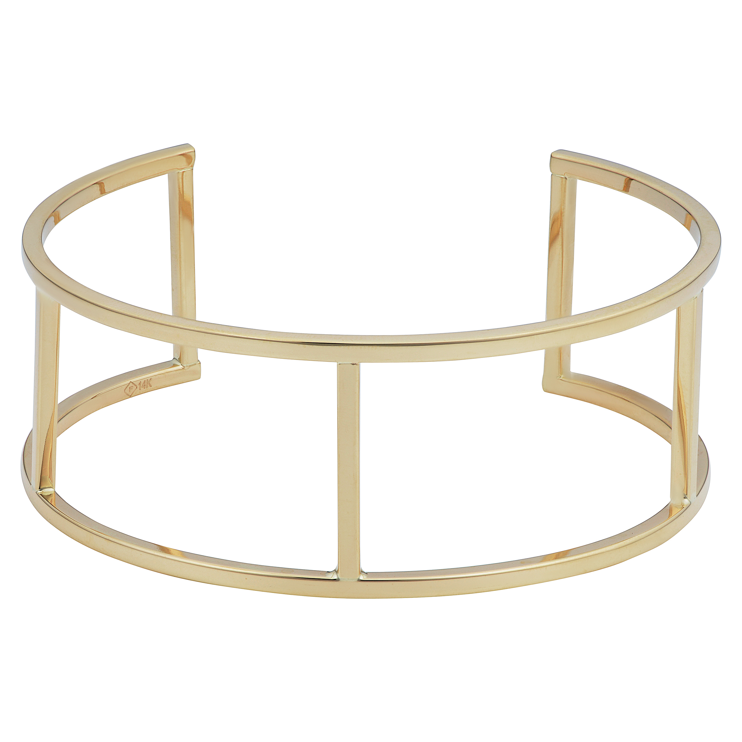 14k Yellow Gold Bar Women's Cuff Bracelet, 7.5″