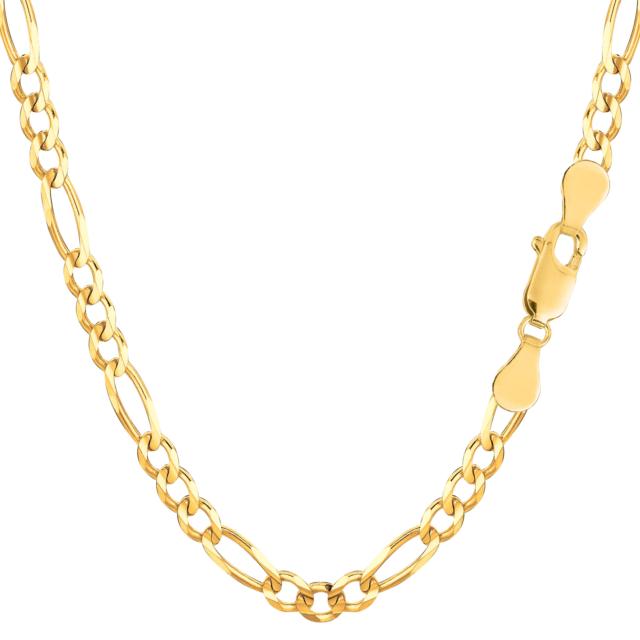 14K Yellow Solid gold Figaro Chain, Width 3.6mm