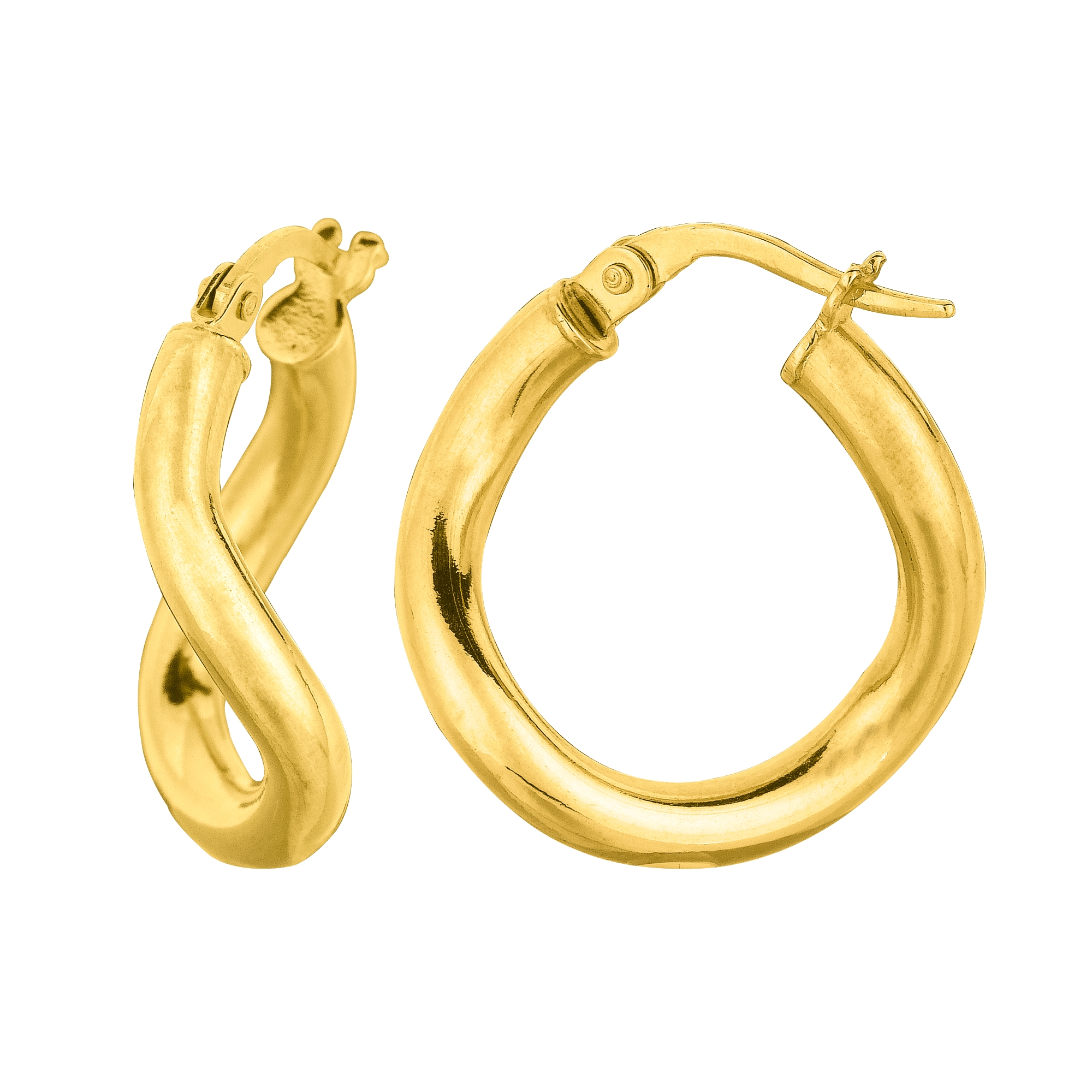 14K Yellow Gold Wavy Round Hoop Earrings, 10mm Complete your jewelry collection with a gorgeous pair of 14K endless earrings. These earrings have a secure snap post clasp making them easy to wear and remove. Earrings come in a  gift box making them ready to be gifted.