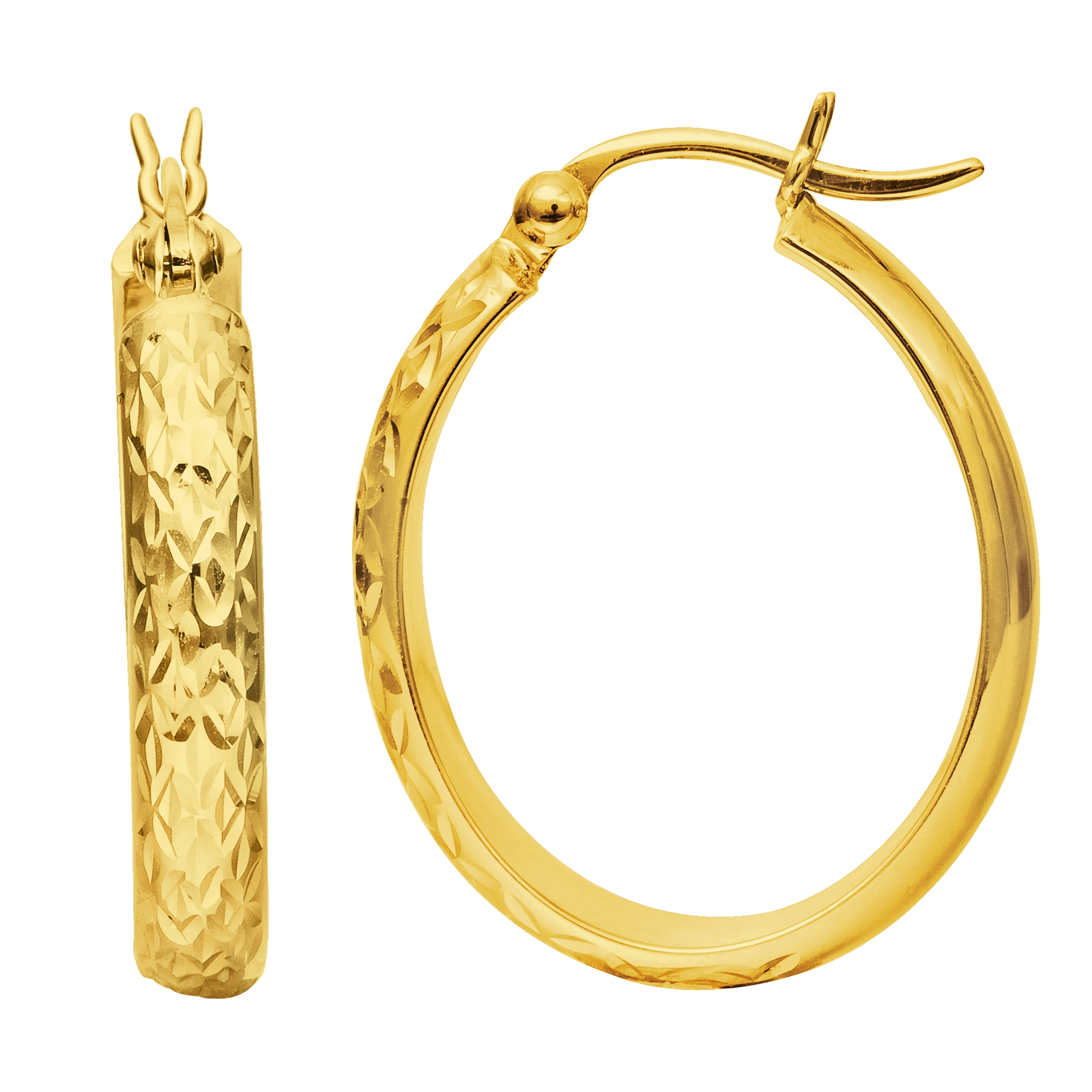 14K Yellow Gold Hammered Polished  Oval Hoop Earrings Complete your jewelry collection with a gorgeous pair of 14K hoop earrings. These oval earrings have a secure snap post clasp making them easy to wear and remove. Earrings come in a  gift box making them ready to be gifted.
