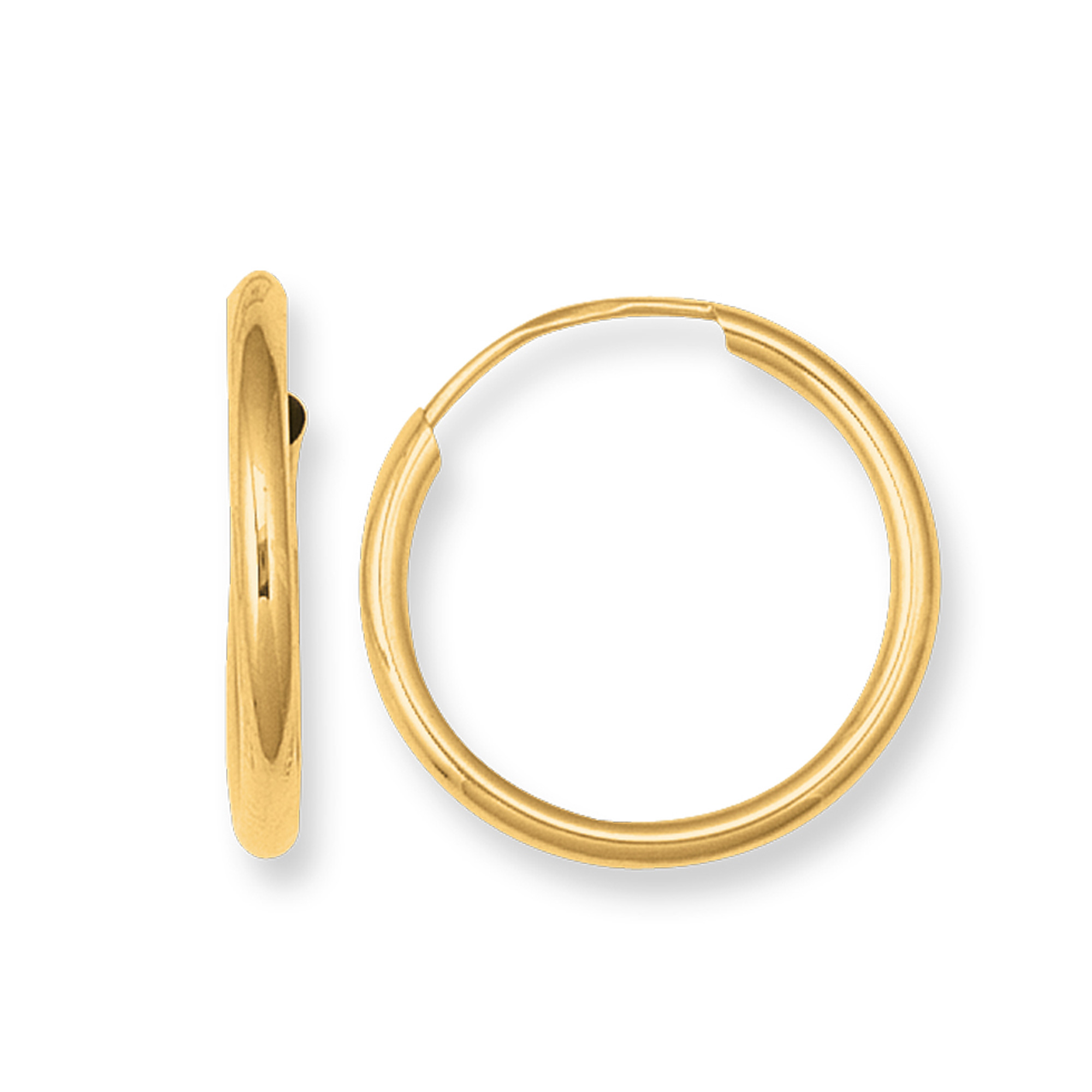 14K Yellow Gold Endless Round Hoop Earrings, 10mm Complete your jewelry collection with a gorgeous pair of 14K endless earrings. These earrings have a secure snap post clasp making them easy to wear and remove. Earrings come in a  gift box making them ready to be gifted.