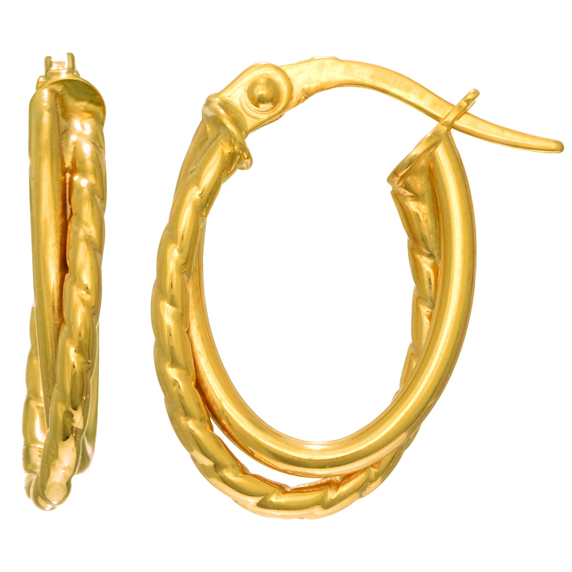14K Yellow Gold Double Row Oval Hoop Earrings