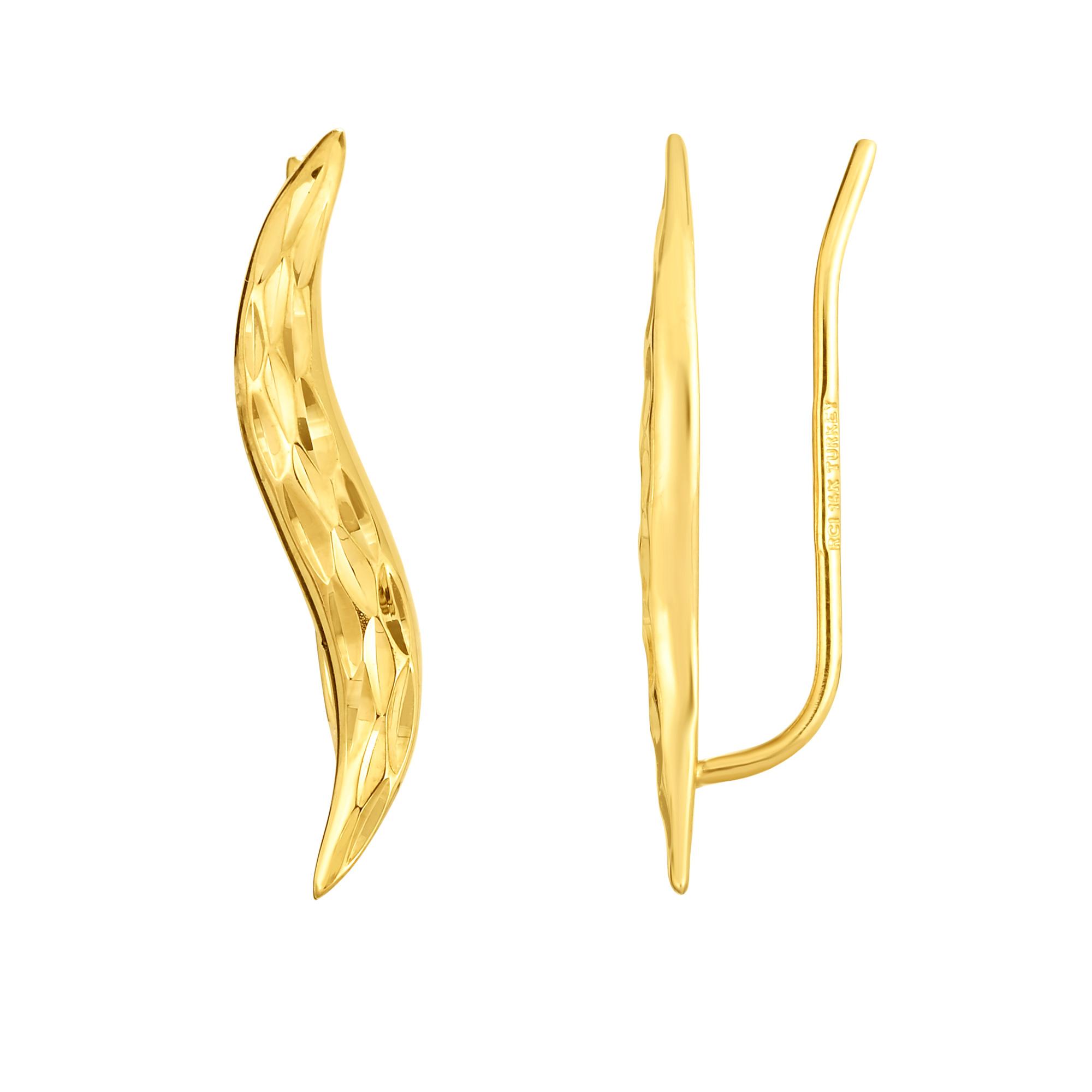 dc2e6355c 14K Yellow Gold Diamond Cut Leaf Climber Earrings   eBay
