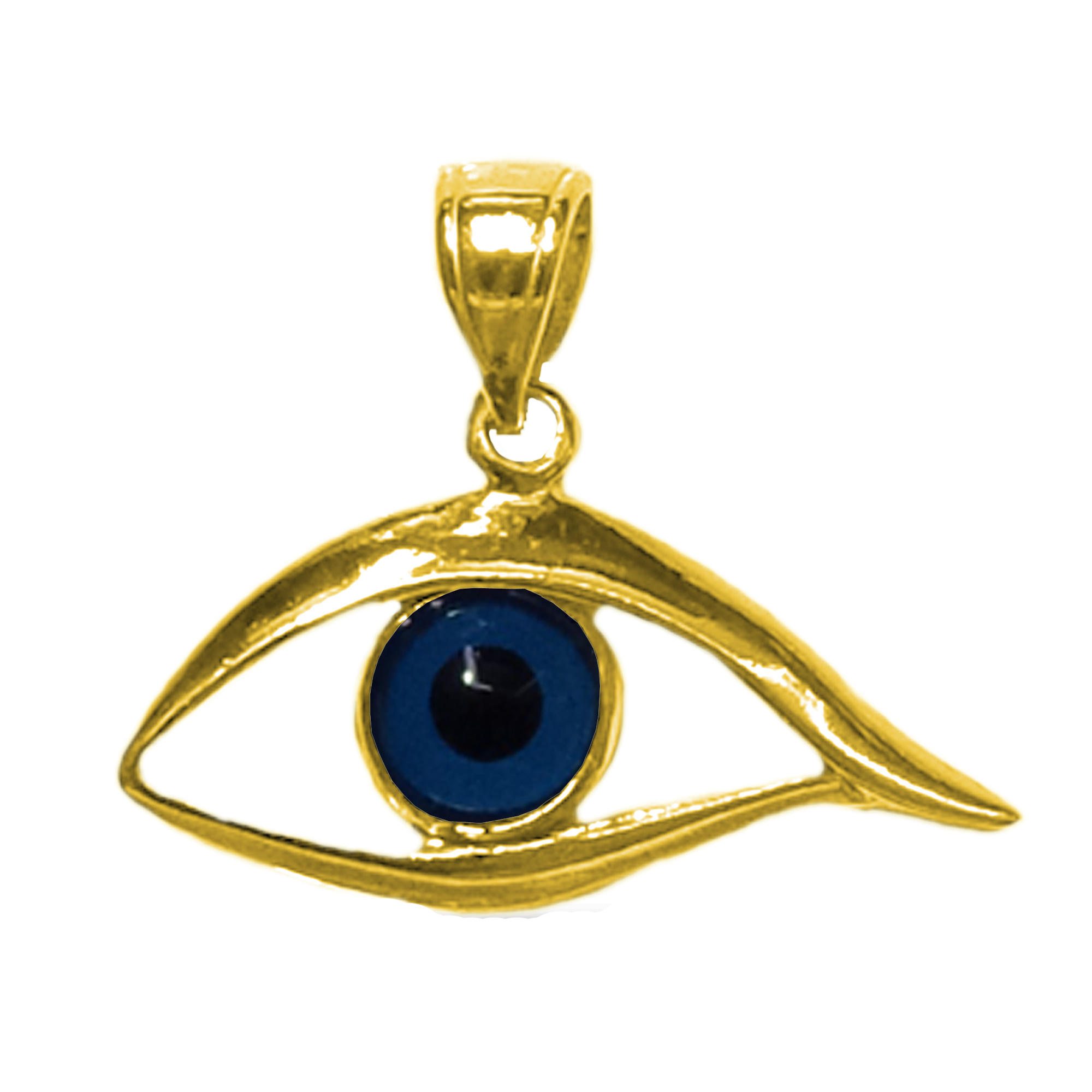 Sterling Silver 18 Karat Gold Overlay Plated Evil Eye Pendant Inspired from the of Greek ancient jewelry era, this sterling silver charm features the Evil Eye motif, also known as Mati in greek, bordering a beautiful  glass Evil Eye. Measuring at 20mm x 25mm diameter, this greek evil eye is 18k yellow gold overlay.