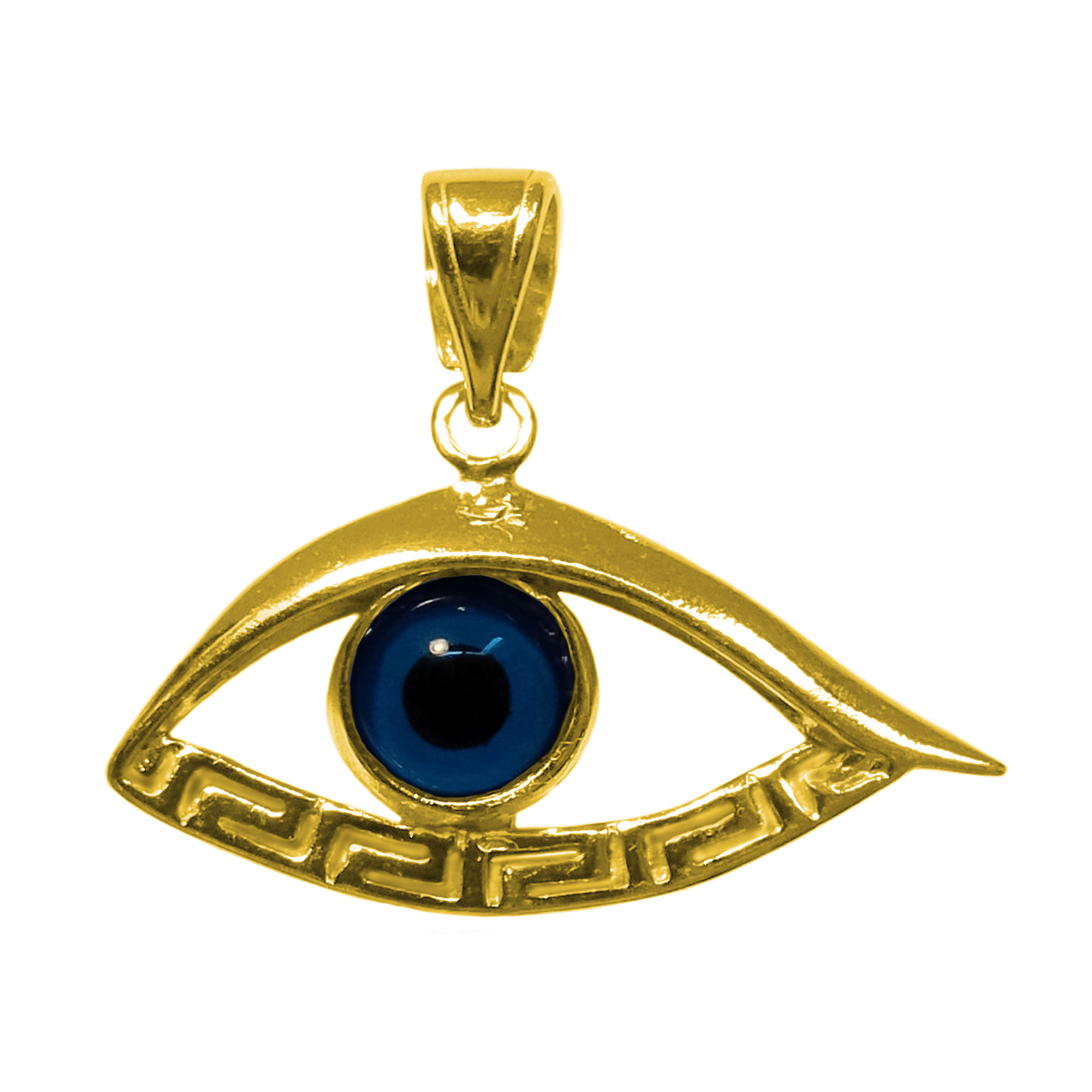 Sterling Silver 18 Karat Gold Overlay Plated Evil Eye Meandros Pendant Inspired from the of Greek ancient jewelry era, this sterling silver gold overlay charm features the Greek Key Motif, also known as the Meander or eternity symbol, bordering a beautiful glass Evil Eye.