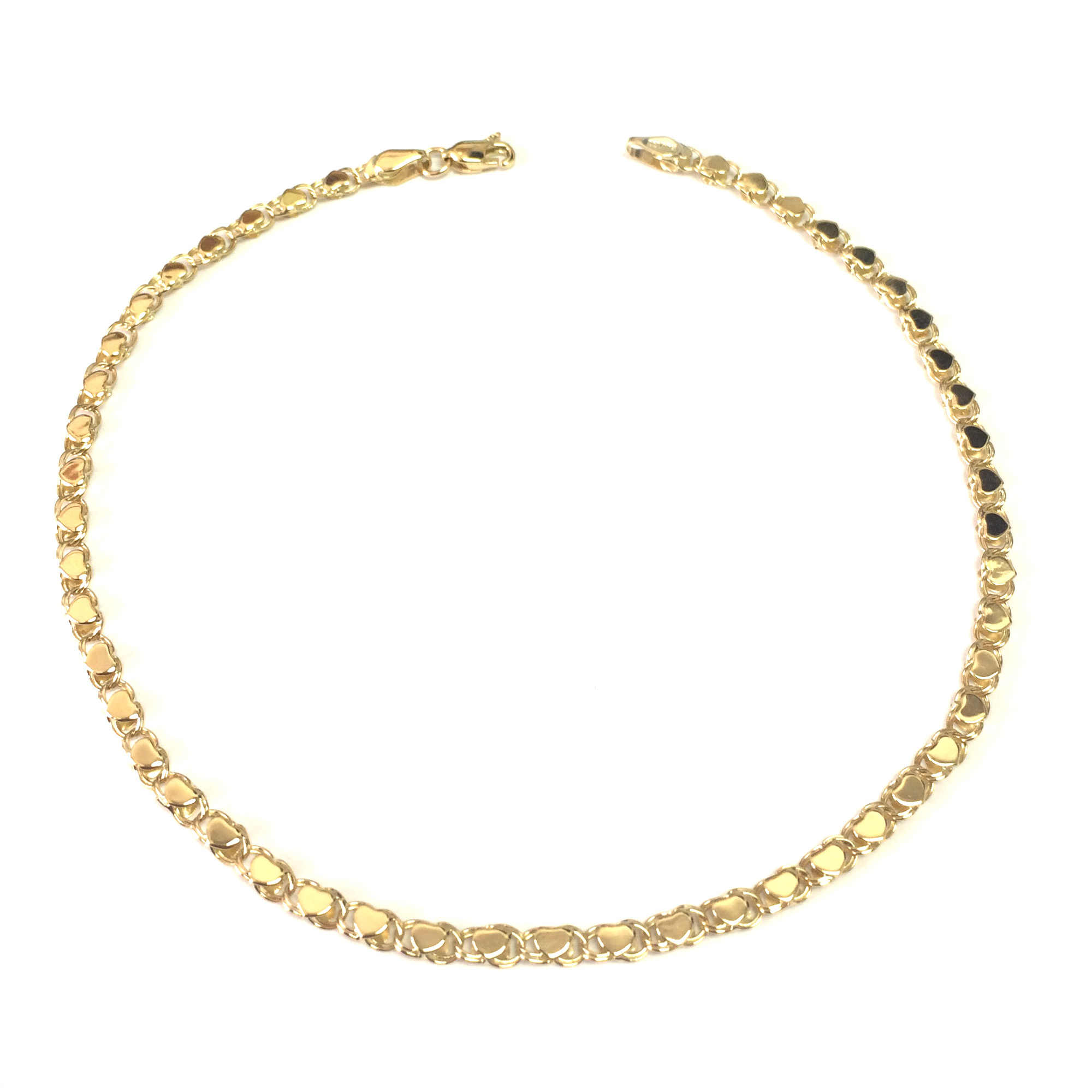 14K Yellow Gold Diamond Cut Hearts Chain Anklet, 10″