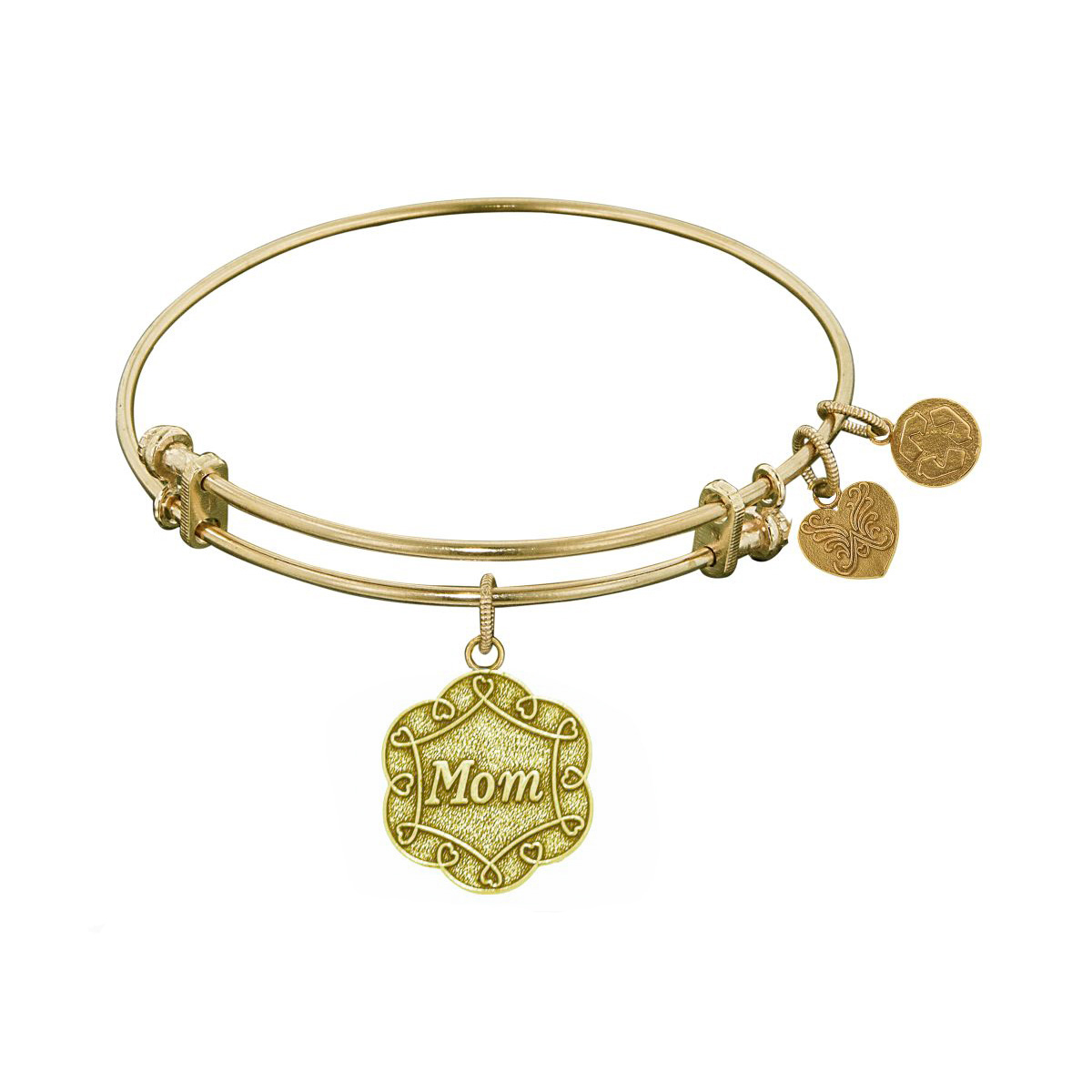 Yellow Stipple Finish Brass Mom On 7 Leaf Flower Like Charm Angelica Bangle Bracelet, 7.25″