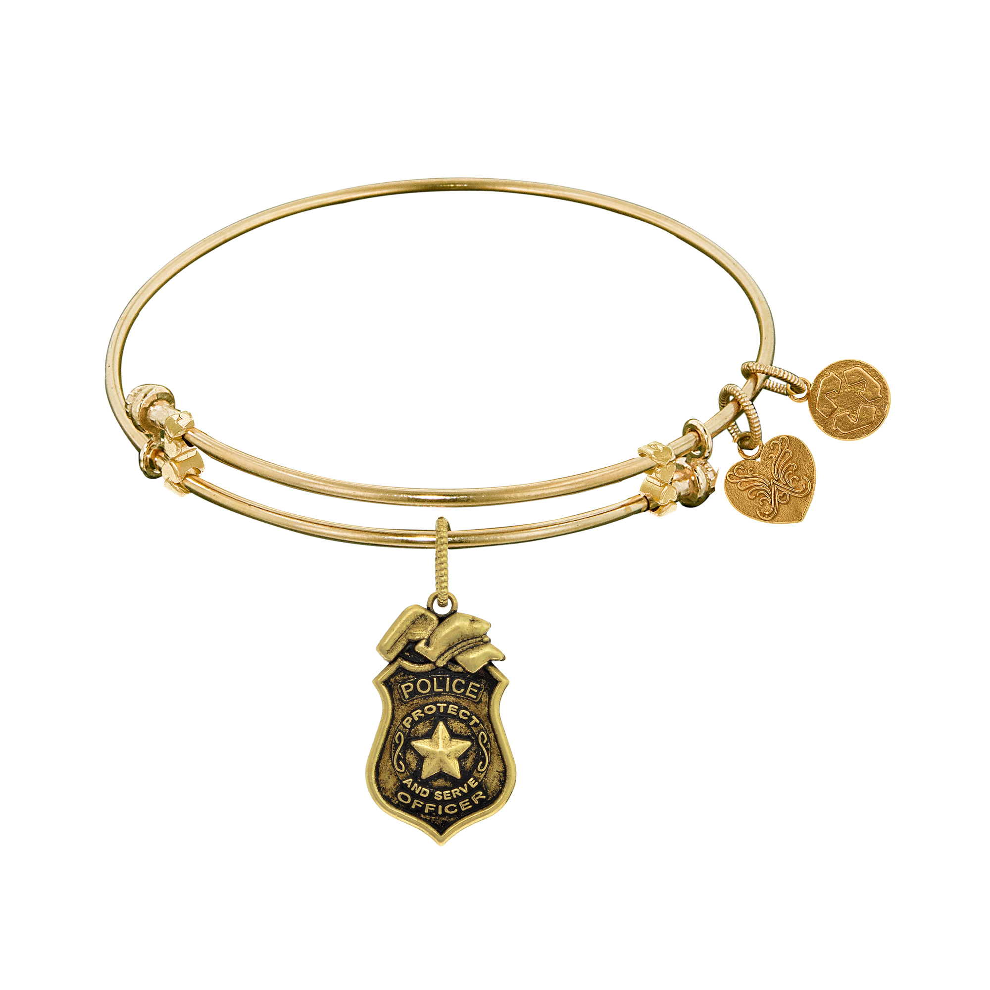 Police Officer Charm Expandable Bangle Bracelet, 7.25″