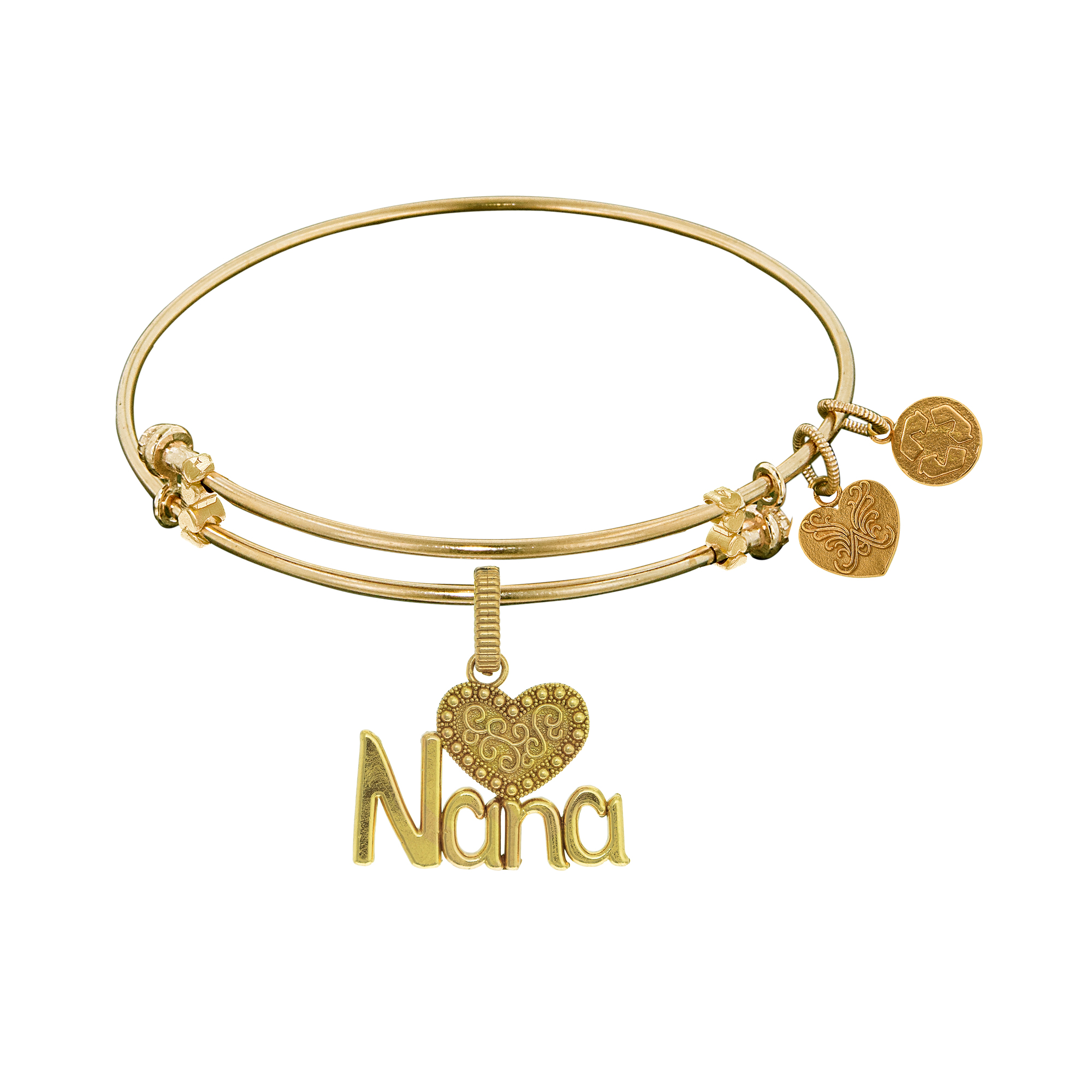 Nana With Heart Charm Expandable Bangle Bracelet, 7.25″