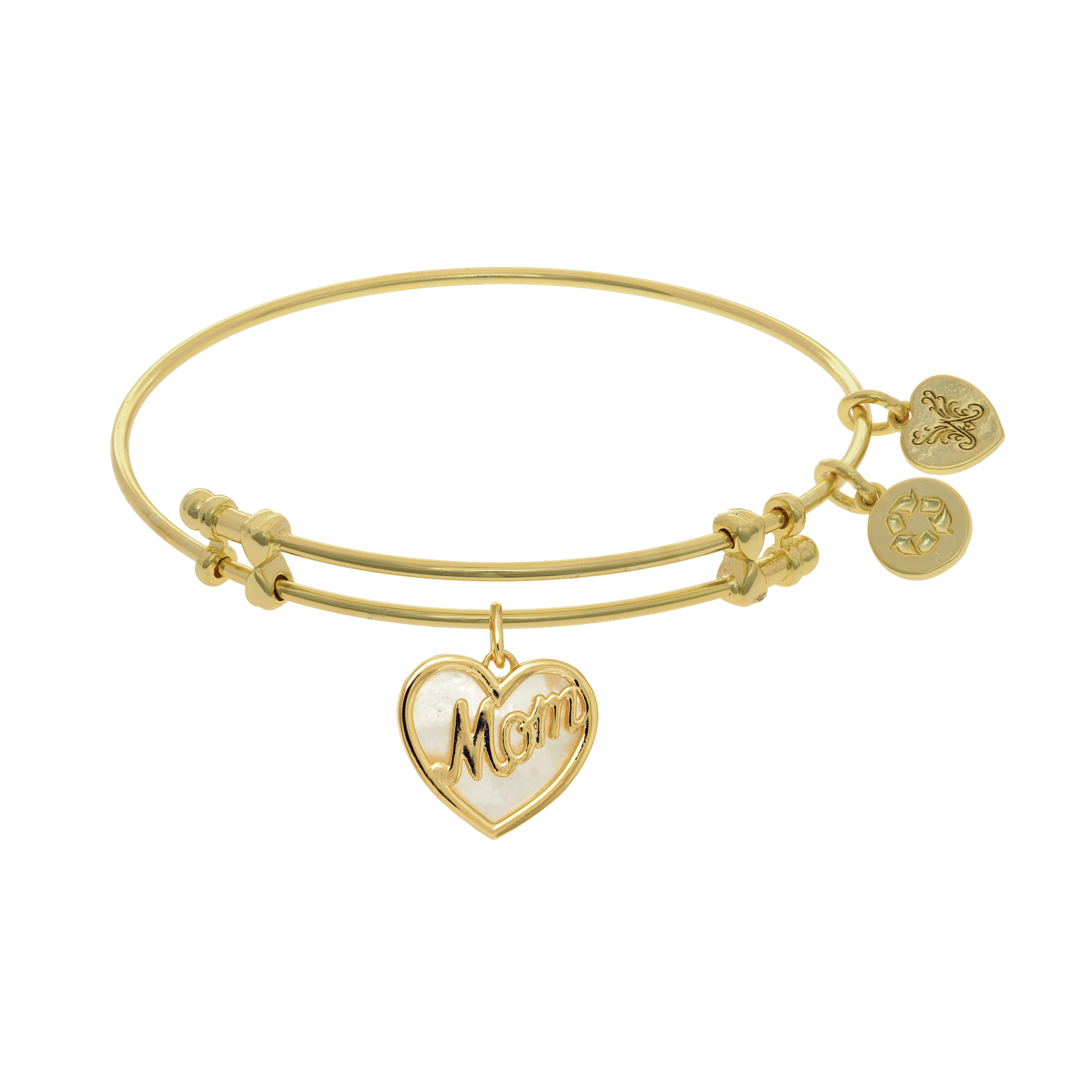 Heart Shape Mom Charm With Created Mother Of Pearl Expandable Bangle Bracelet, 7.25″
