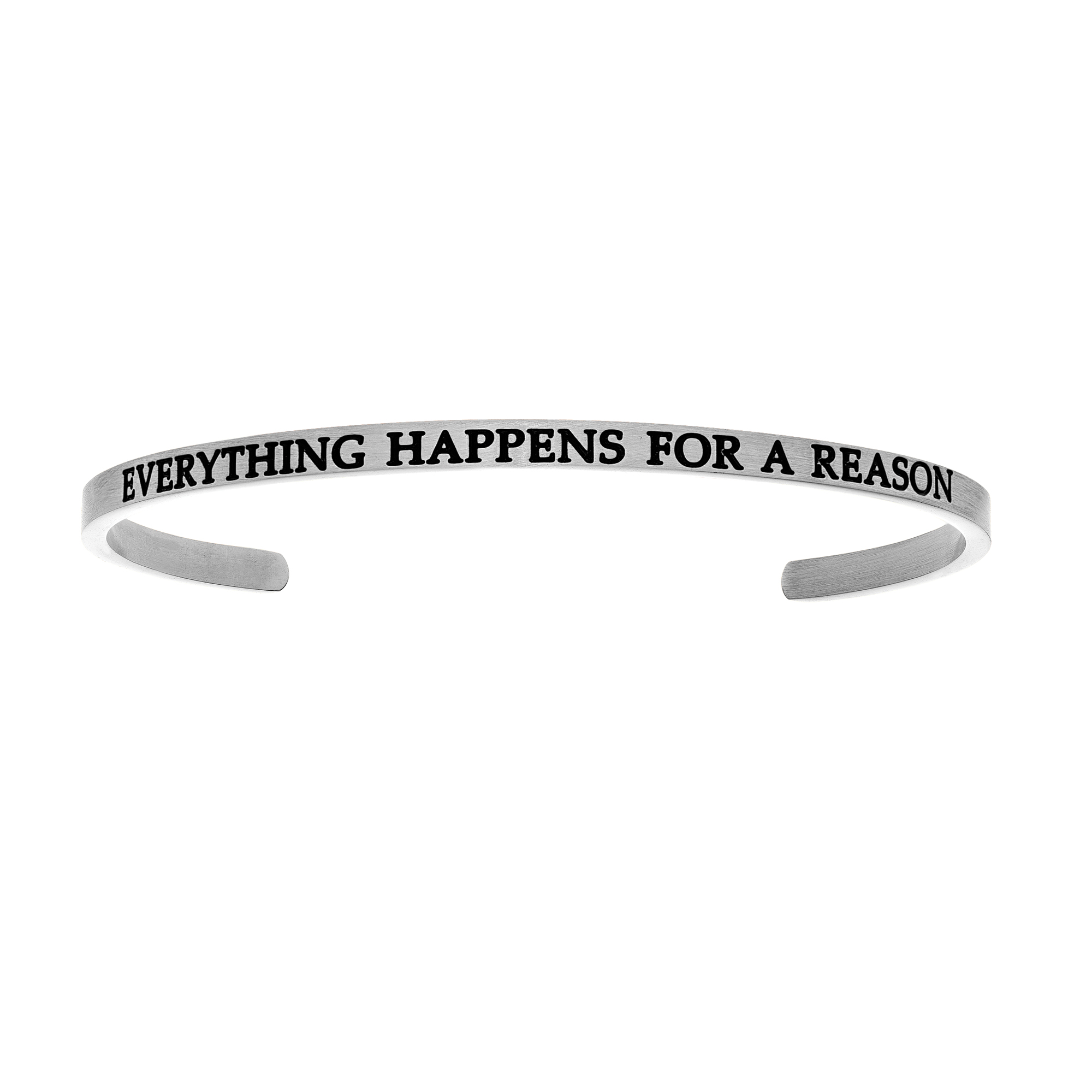 Intuitions Stainless Steel EVERYTHING HAPPENS FOR A REASON Diamond Accent Cuff  Bangle Bracelet, 7  Each of these bracelets carries a personal message of inspiration, spirituality or just plain fun. Meant to be worn alone or stacked together for a smart, contemporary look, they're a great self-purchase or as a gift for family or friends. Intuitions are made of stainless steel and come in two styles standard cuff or friendship and fit practically any wrist. Intuitions Jewelry makes the difference in your daily life by designing and creating bracelets and bangles with motivational quotes to inspire you and your loved ones. Giving back $.25 of each bracelet to BABY2BABY