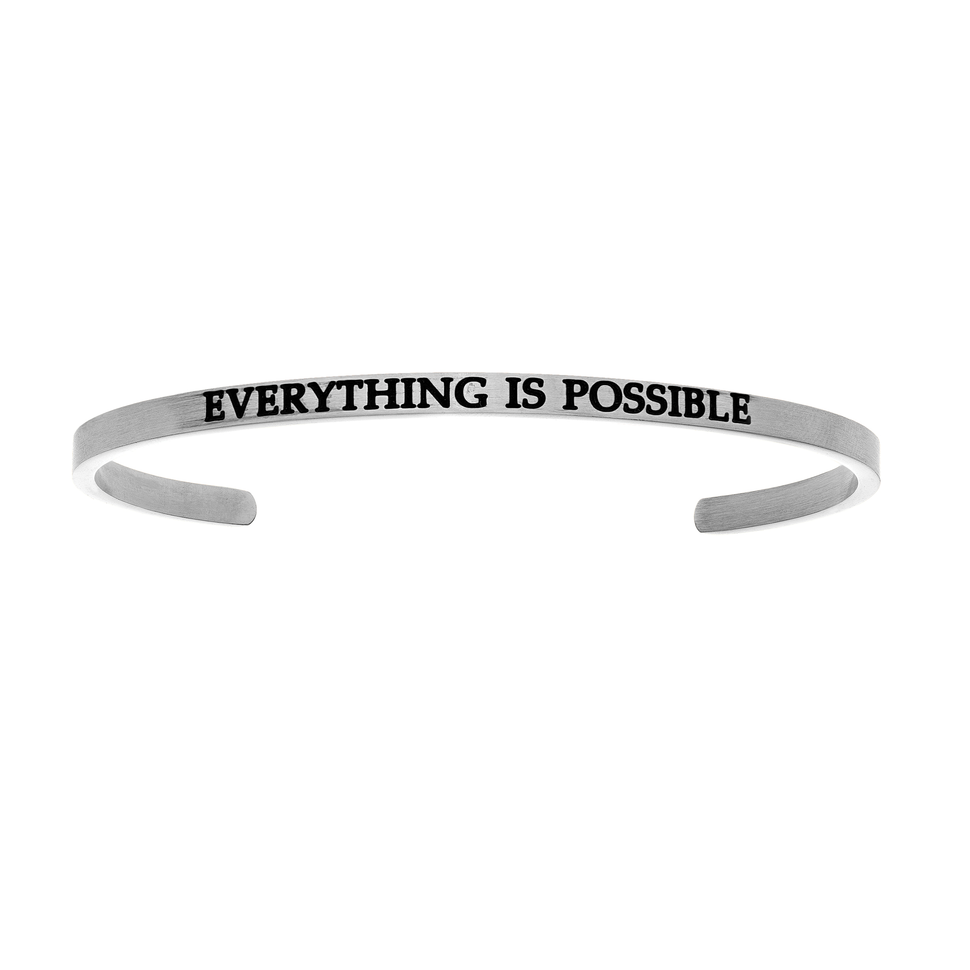 Intuitions Stainless Steel EVERYTHING IS POSSIBLE Diamond Accent Cuff Bangle Bracelet, 7″