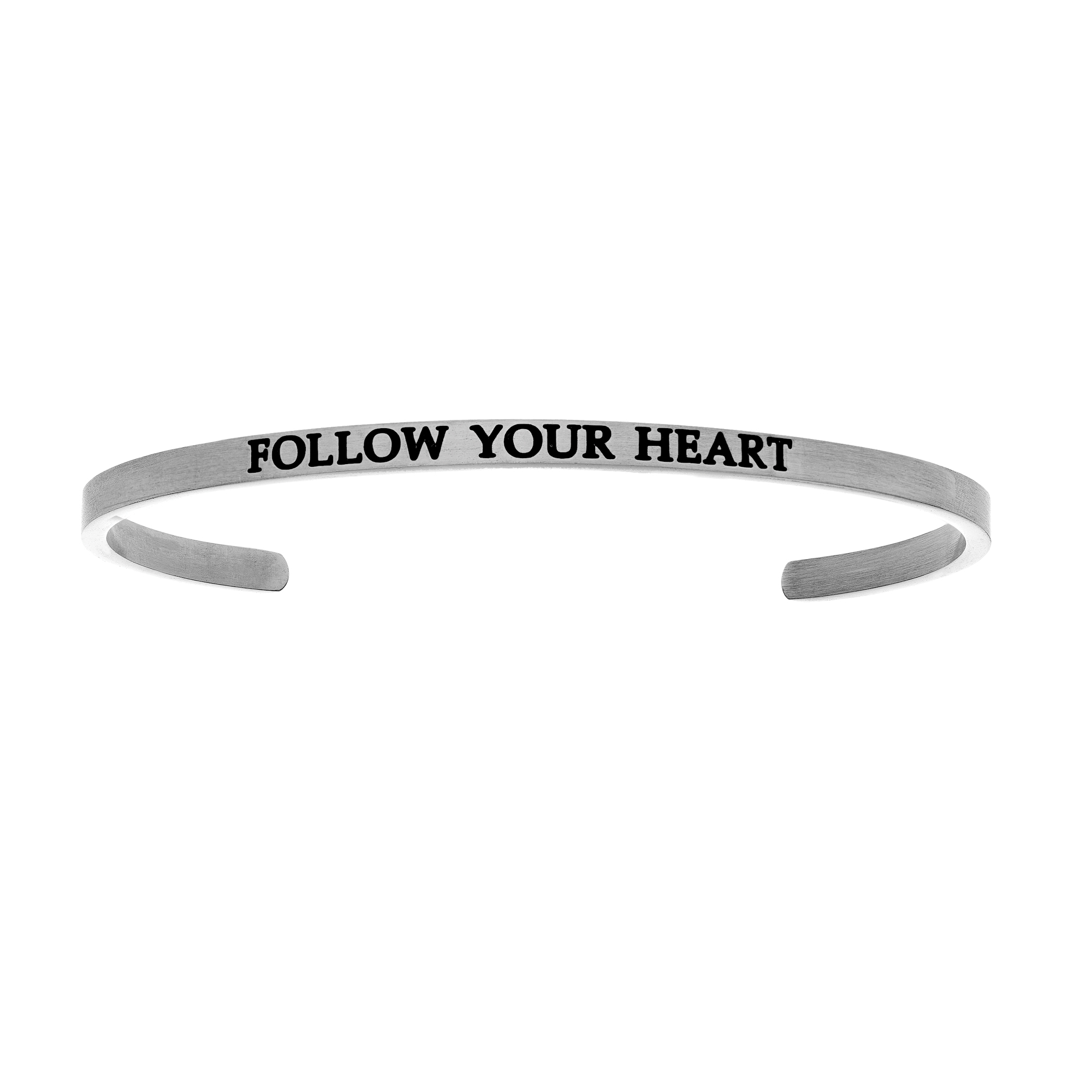 Intuitions Stainless Steel FOLLOW YOUR HEART Diamond Accent Cuff Bangle Bracelet, 7″