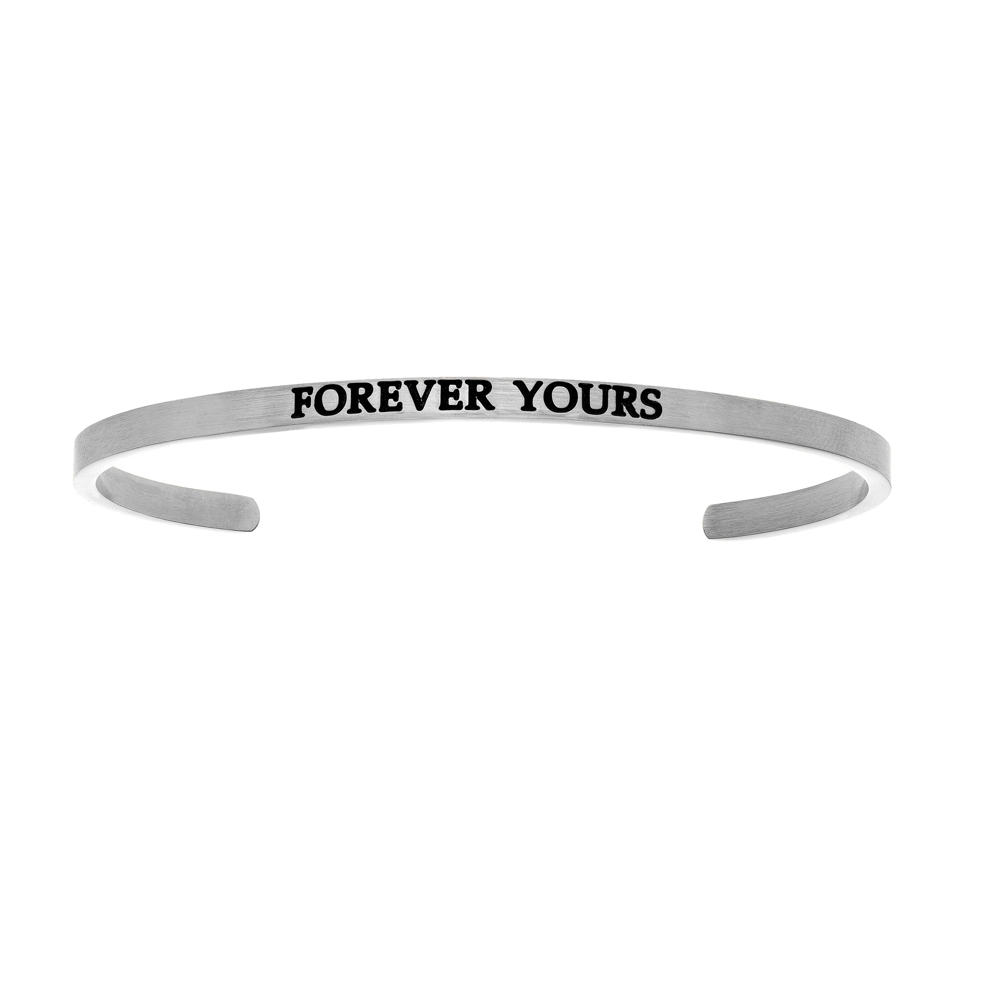 Intuitions Stainless Steel FOREVER YOURS Diamond Accent Cuff Bangle Bracelet, 7″