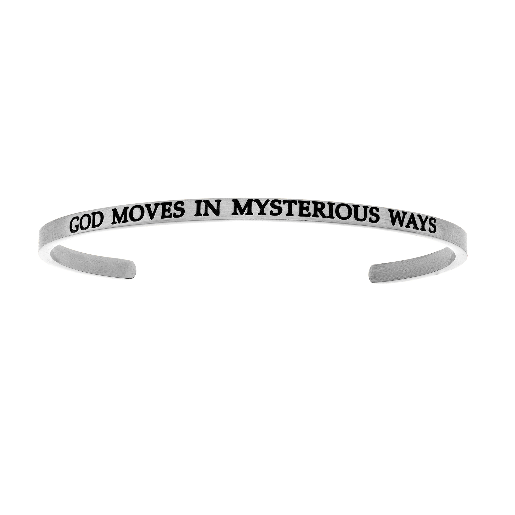 Intuitions Stainless Steel GOD MOVES IN MYSTERIOUS WAYS Diamond Accent Cuff  Bangle Bracelet, 7  Each of these bracelets carries a personal message of inspiration, spirituality or just plain fun. Meant to be worn alone or stacked together for a smart, contemporary look, they're a great self-purchase or as a gift for family or friends. Intuitions are made of stainless steel and come in two styles standard cuff or friendship and fit practically any wrist. Intuitions Jewelry makes the difference in your daily life by designing and creating bracelets and bangles with motivational quotes to inspire you and your loved ones. Giving back $.25 of each bracelet to BABY2BABY