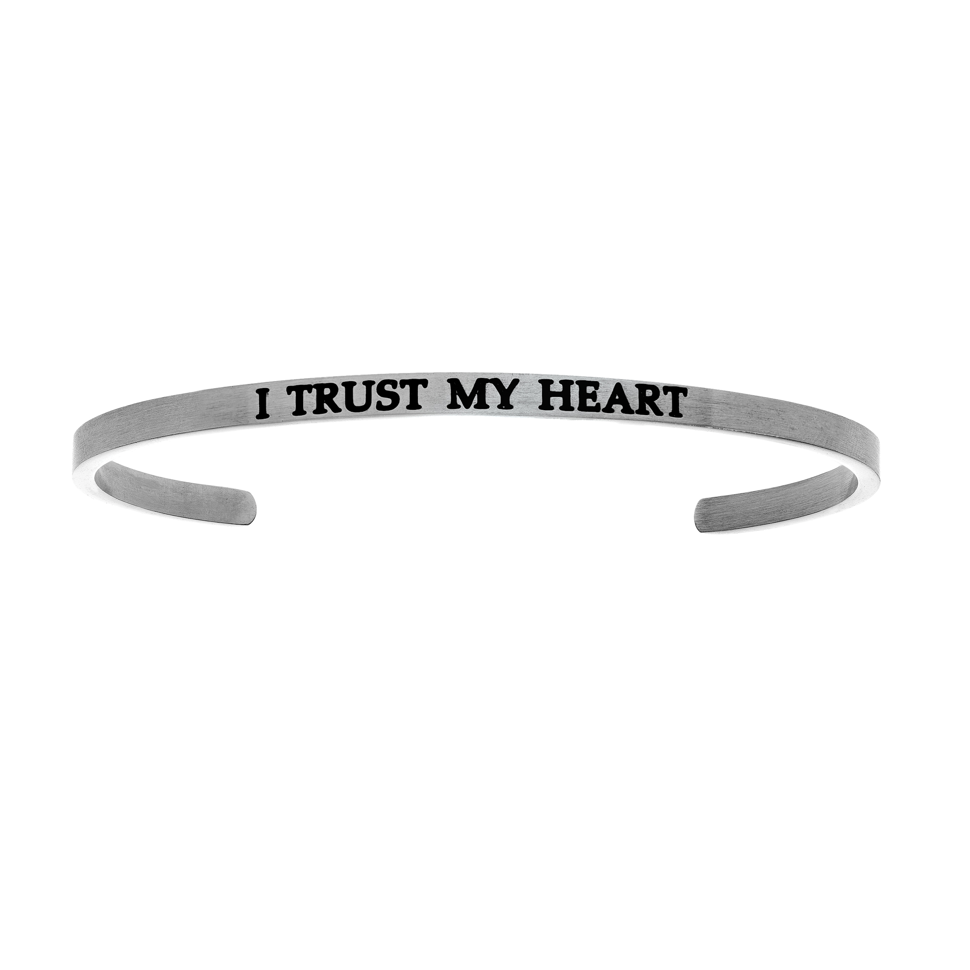 Intuitions Stainless Steel I TRUST MY HEART Diamond Accent Cuff Bangle Bracelet, 7″