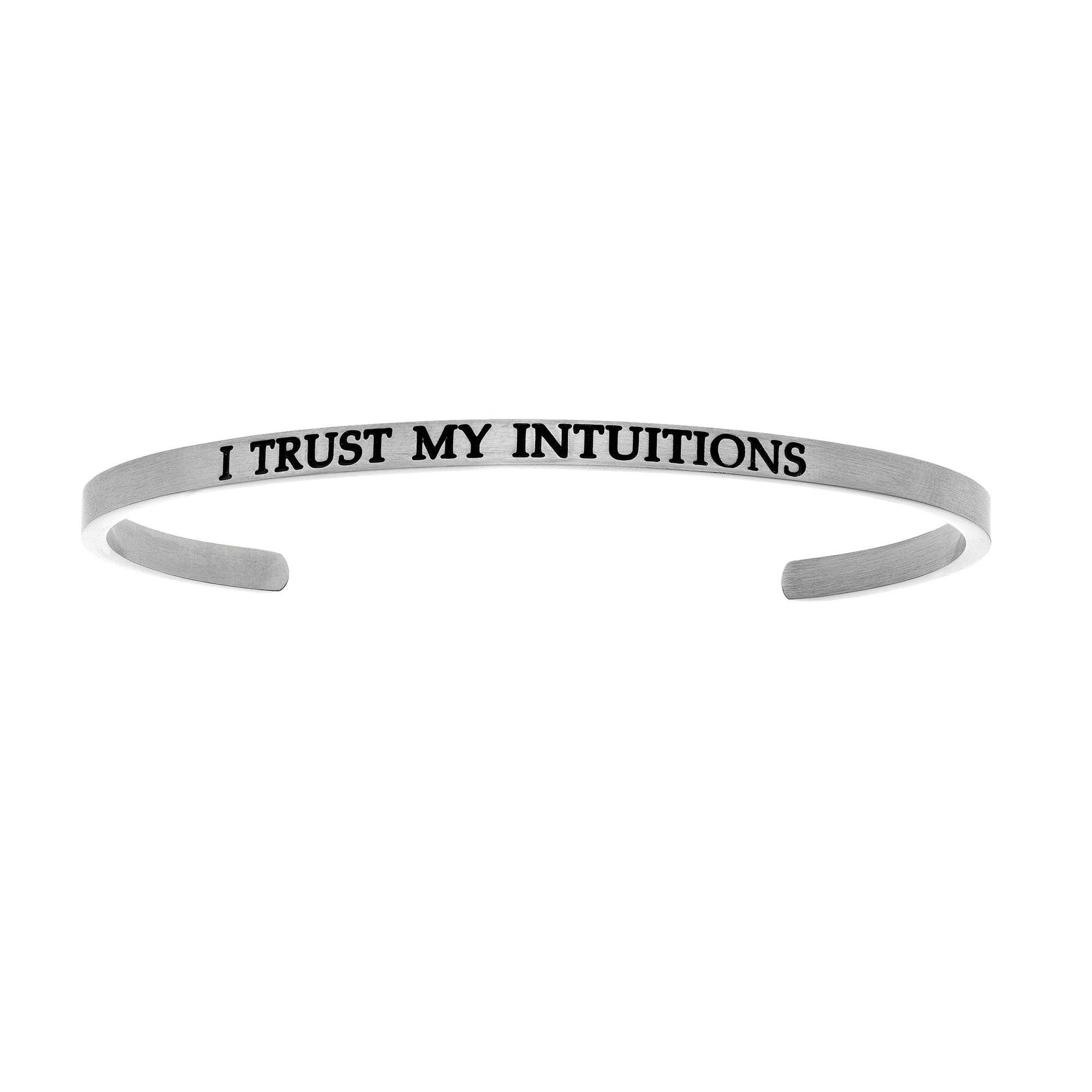Intuitions Stainless Steel I TRUST MY S Diamond Accent Cuff Bangle Bracelet, 7″