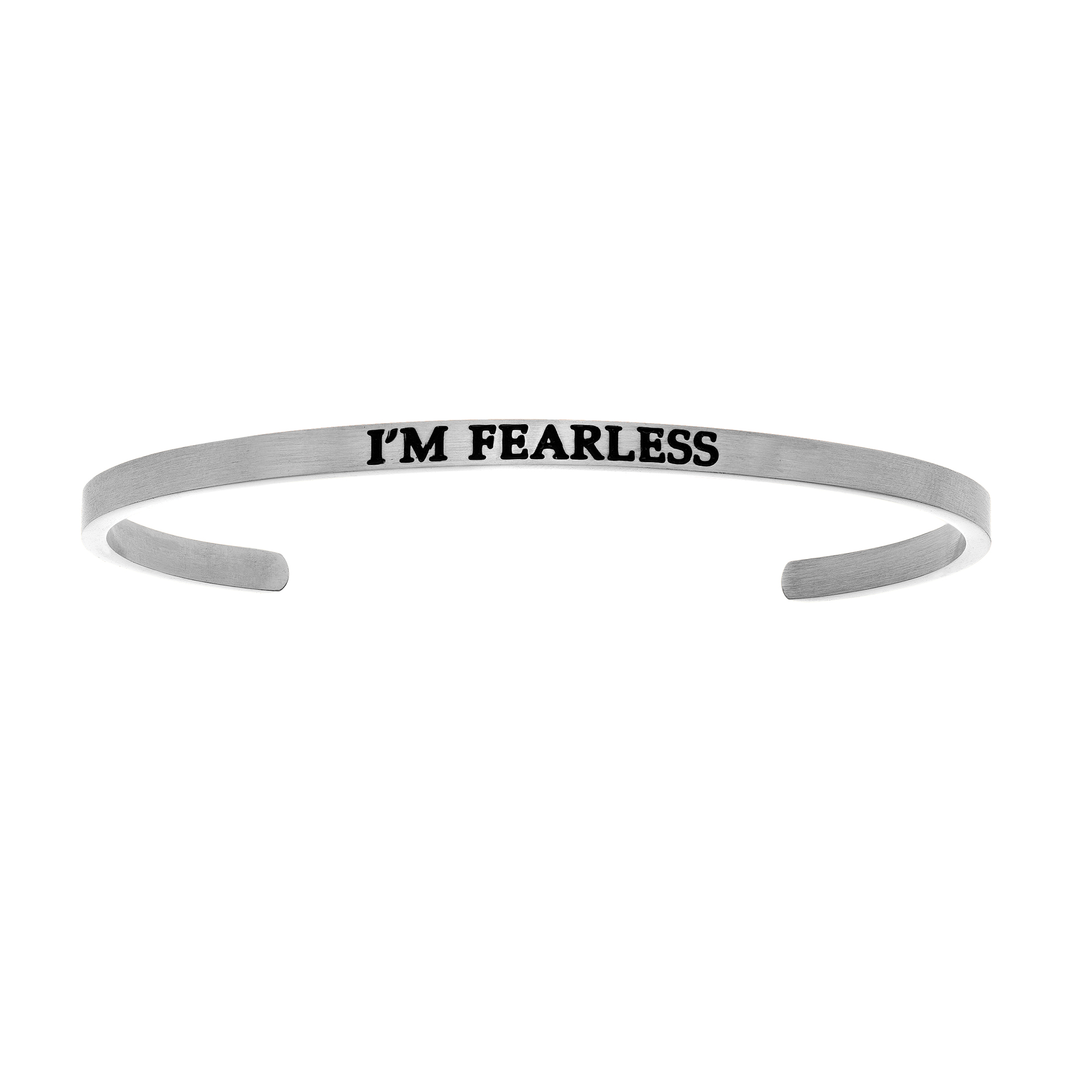 Intuitions Stainless Steel I'M FEARLESS Diamond Accent Cuff Bangle Bracelet, 7″