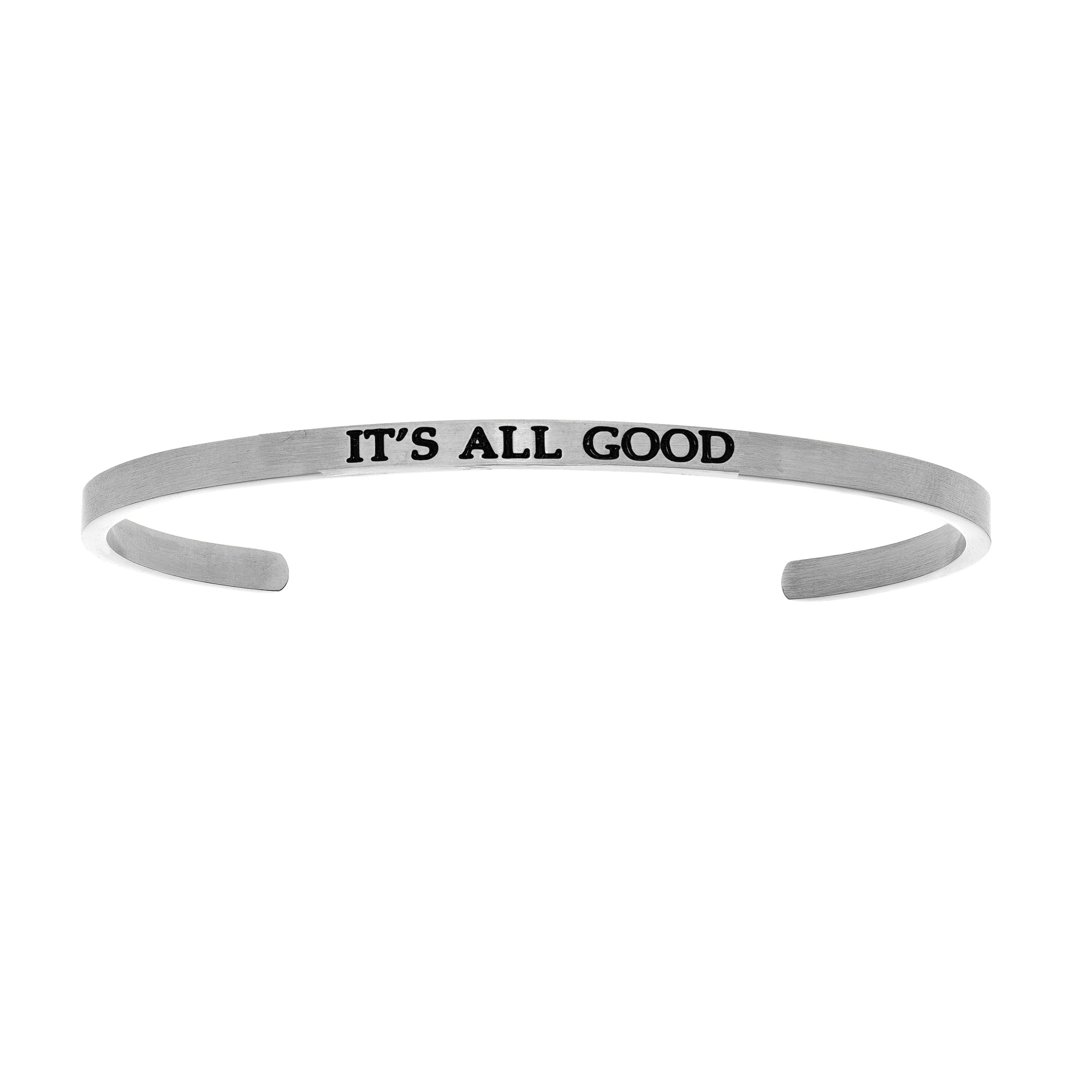 Intuitions Stainless Steel IT'S ALL GOOD Diamond Accent Cuff  Bangle Bracelet, 7  Each of these bracelets carries a personal message of inspiration, spirituality or just plain fun. Meant to be worn alone or stacked together for a smart, contemporary look, they're a great self-purchase or as a gift for family or friends. Intuitions are made of stainless steel and come in two styles standard cuff or friendship and fit practically any wrist. Intuitions Jewelry makes the difference in your daily life by designing and creating bracelets and bangles with motivational quotes to inspire you and your loved ones. Giving back $.25 of each bracelet to BABY2BABY