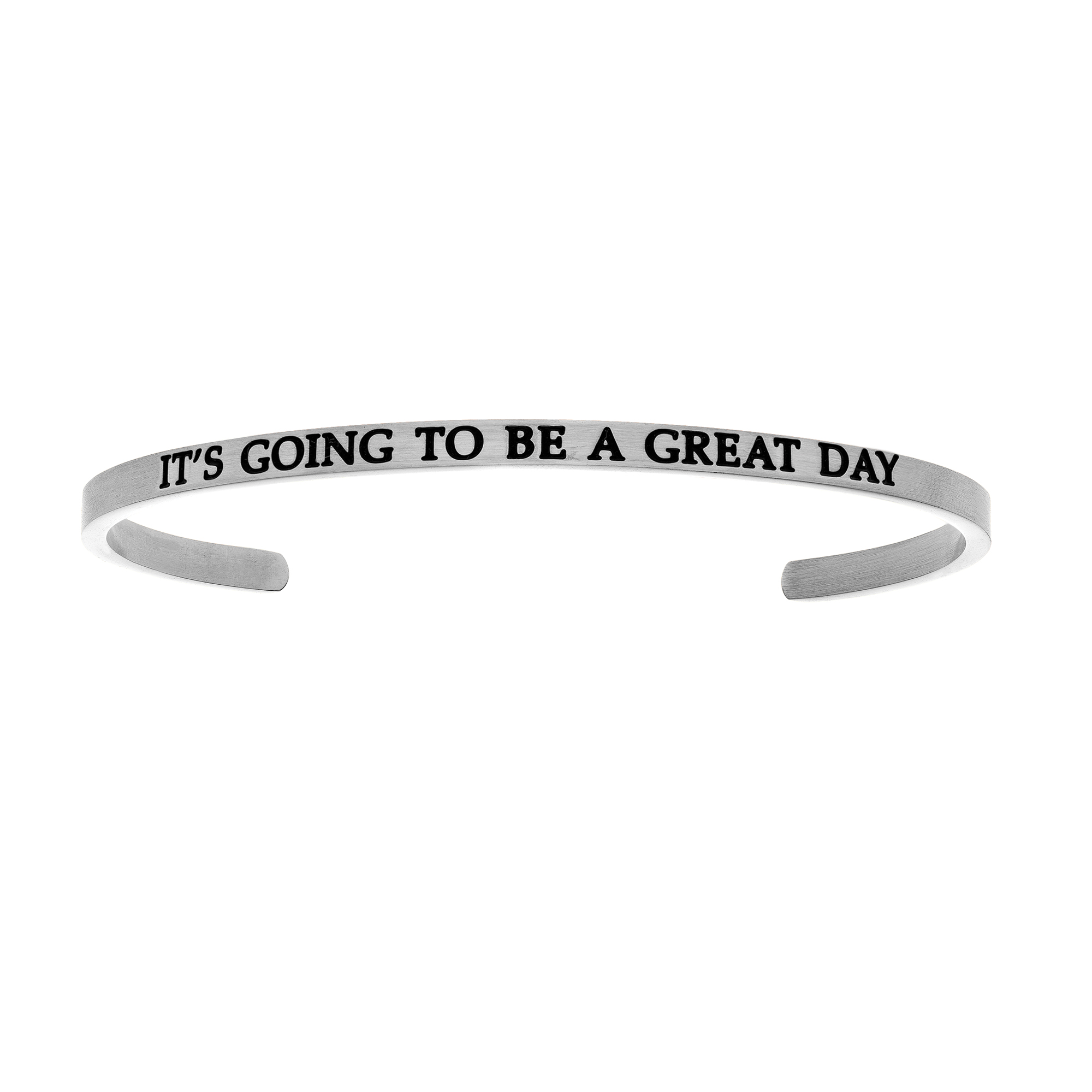 Intuitions Stainless Steel IT'S GOING TO BE A GREAT DAY Diamond Accent Cuff Bangle Bracelet, 7″