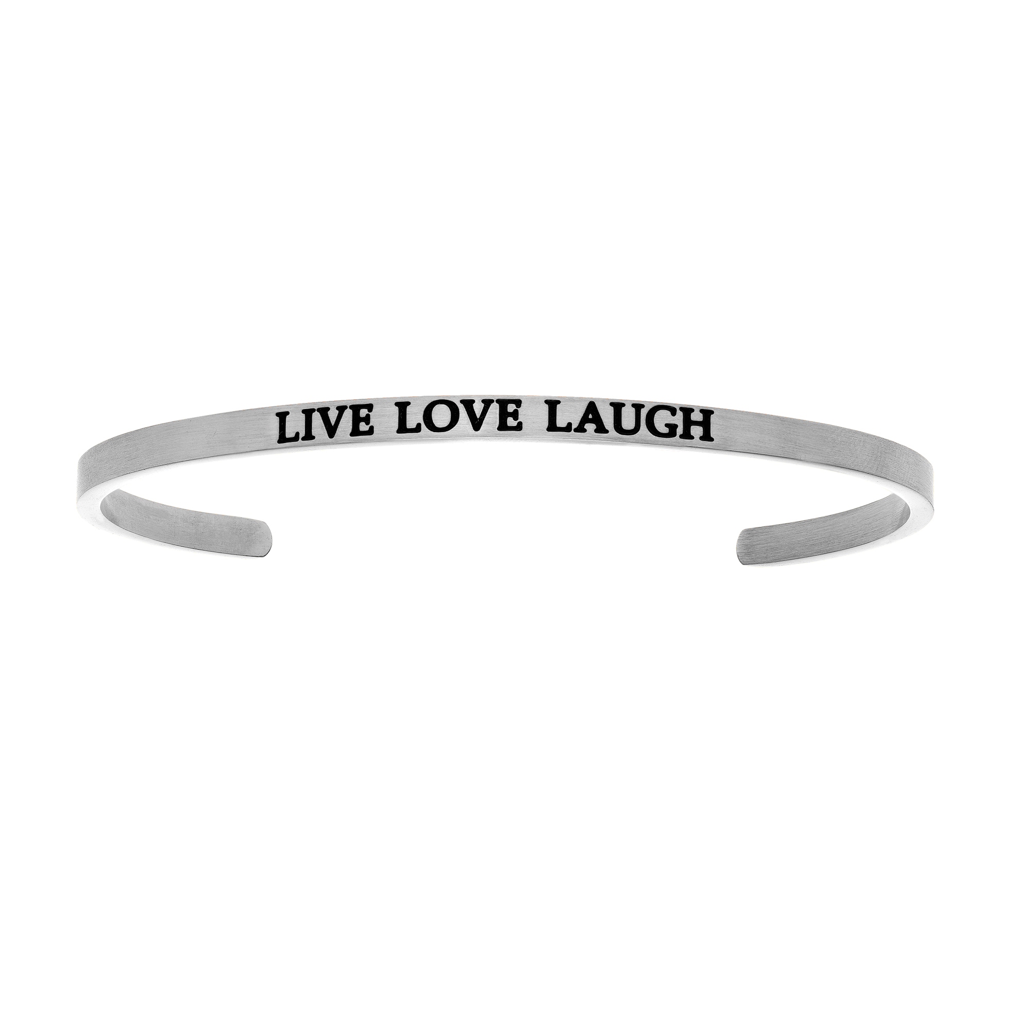 Intuitions Stainless Steel LIVE LOVE LAUGH Diamond Accent Cuff  Bangle Bracelet, 7  Each of these bracelets carries a personal message of inspiration, spirituality or just plain fun. Meant to be worn alone or stacked together for a smart, contemporary look, they're a great self-purchase or as a gift for family or friends. Intuitions are made of stainless steel and come in two styles standard cuff or friendship and fit practically any wrist. Intuitions Jewelry makes the difference in your daily life by designing and creating bracelets and bangles with motivational quotes to inspire you and your loved ones. Giving back $.25 of each bracelet to BABY2BABY
