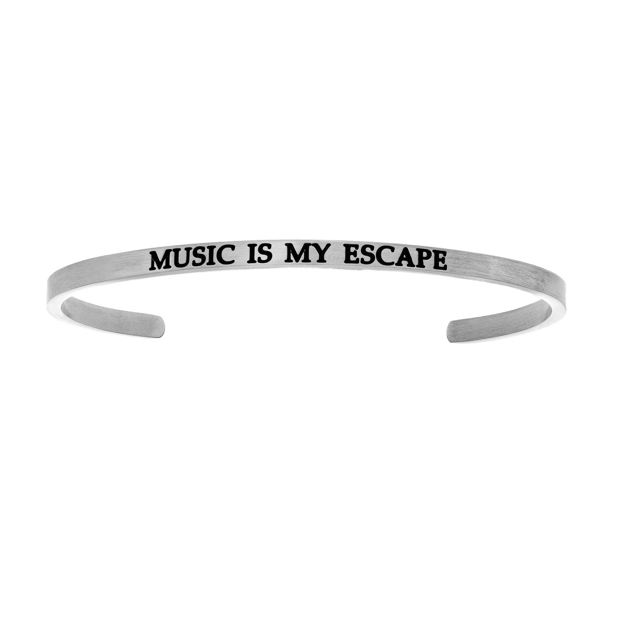 Intuitions Stainless Steel MUSIC IS MY ESCAPE Diamond Accent Cuff Bangle Bracelet, 7″