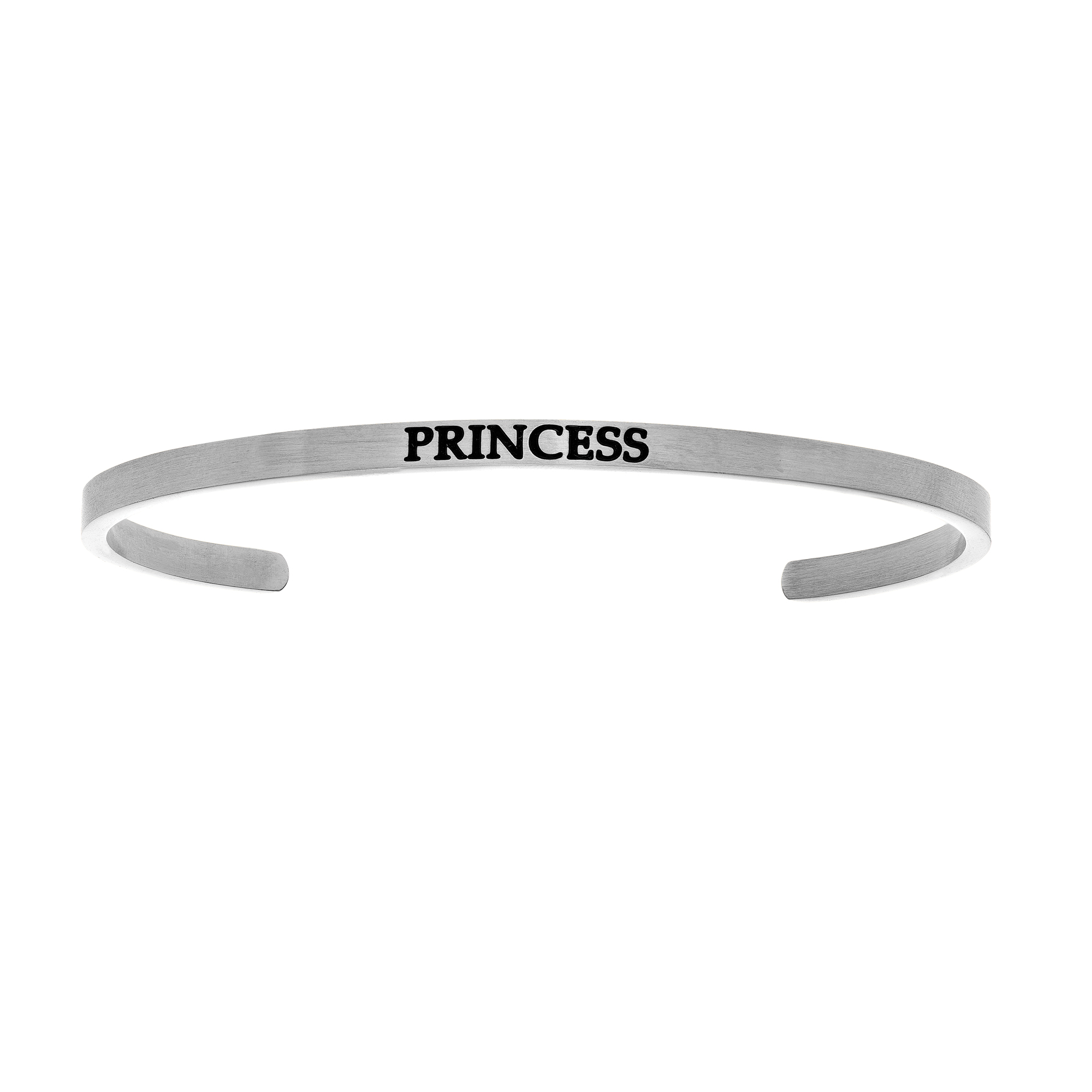 Intuitions Stainless Steel PRINCESS Diamond Accent Cuff Bangle Bracelet, 7″
