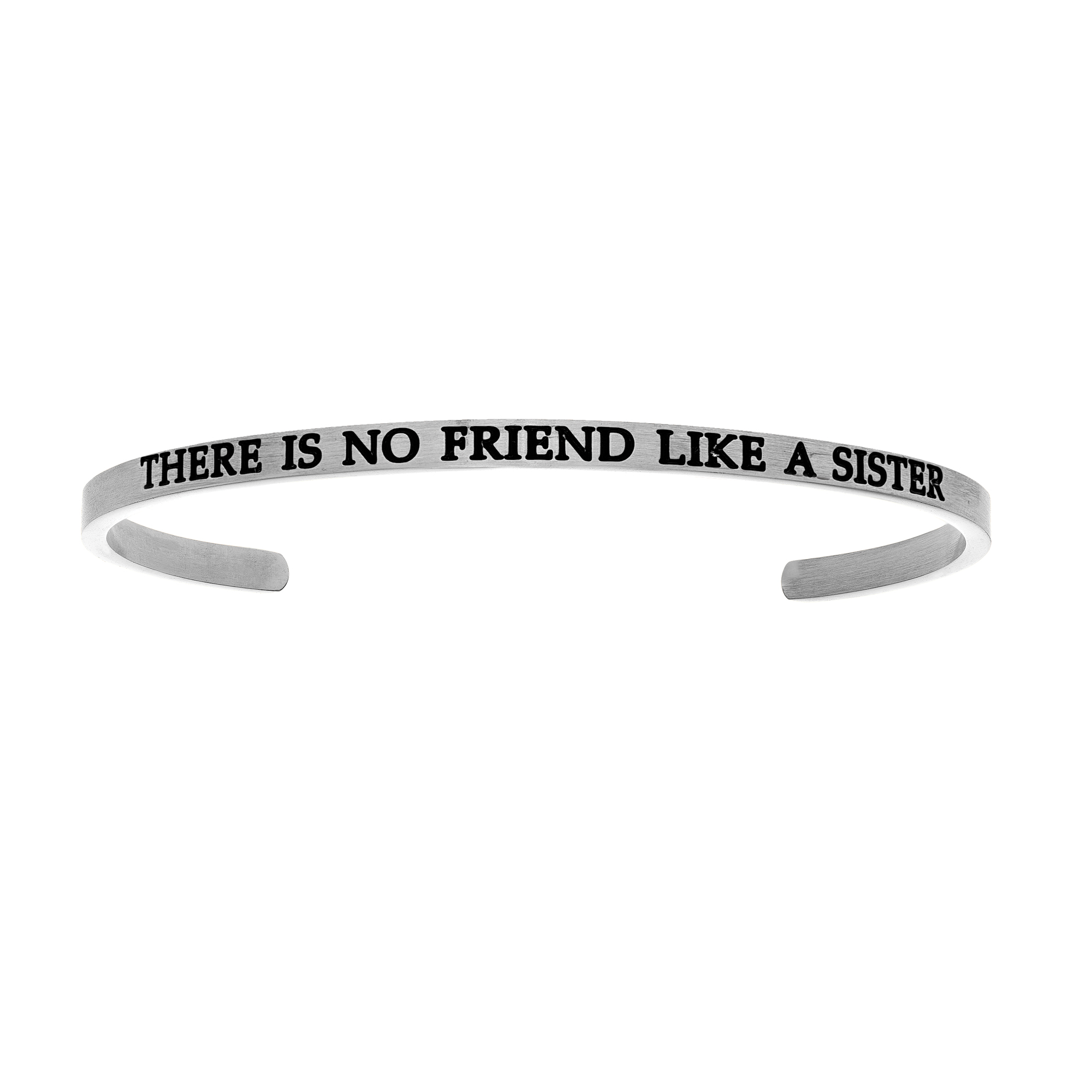 Intuitions Stainless Steel THERE IS NO FRIEND LIKE A SISTER Diamond Accent Cuff Bangle Bracelet, 7″