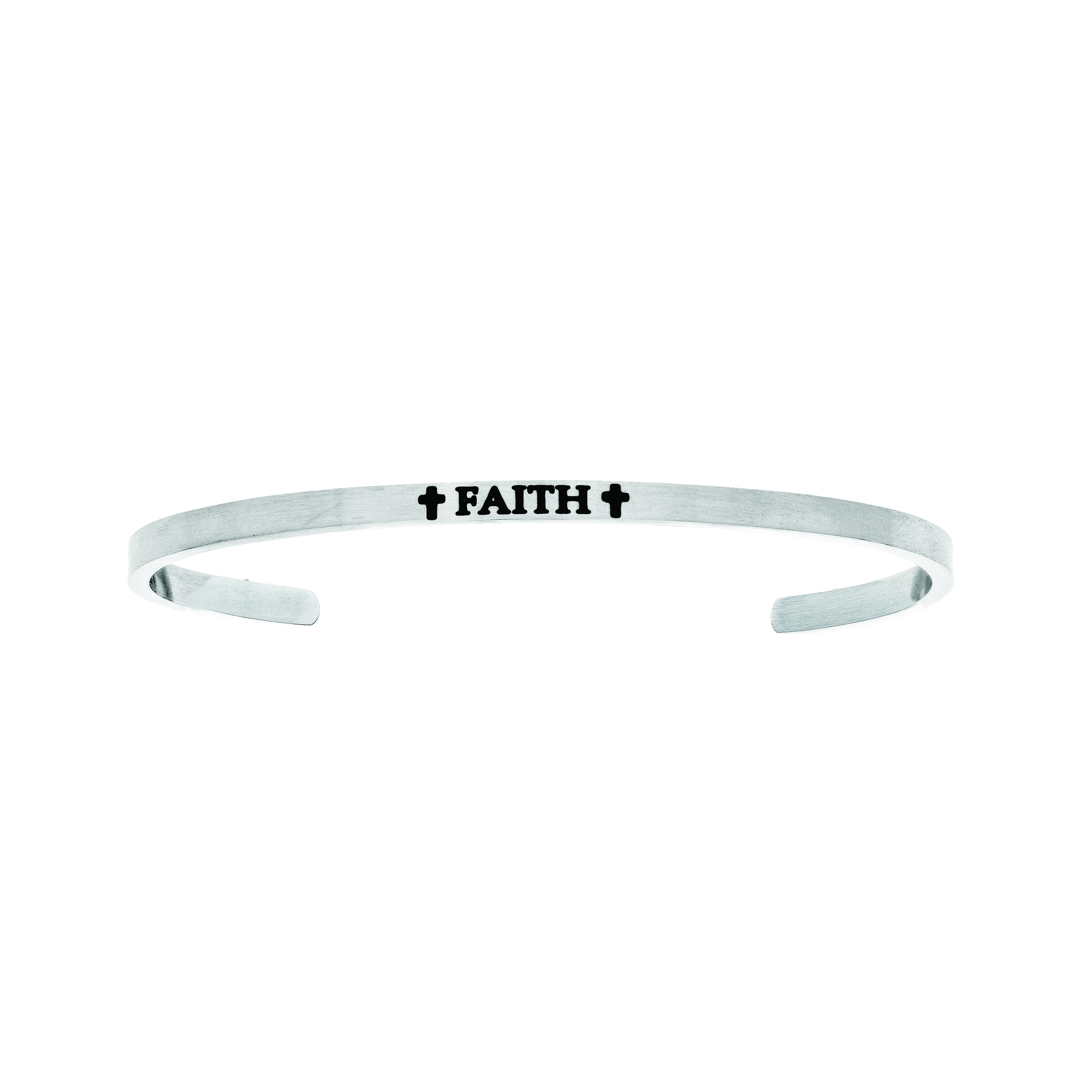 Intuitions Stainless Steel Faith With Cross Diamond Accent Cuff  Bangle Bracelet, 7  Each of these bracelets carries a personal message of inspiration, spirituality or just plain fun. Meant to be worn alone or stacked together for a smart, contemporary look, they're a great self-purchase or as a gift for family or friends. Intuitions are made of stainless steel and come in two styles standard cuff or friendship and fit practically any wrist. Intuitions Jewelry makes the difference in your daily life by designing and creating bracelets and bangles with motivational quotes to inspire you and your loved ones. Giving back $.25 of each bracelet to BABY2BABY