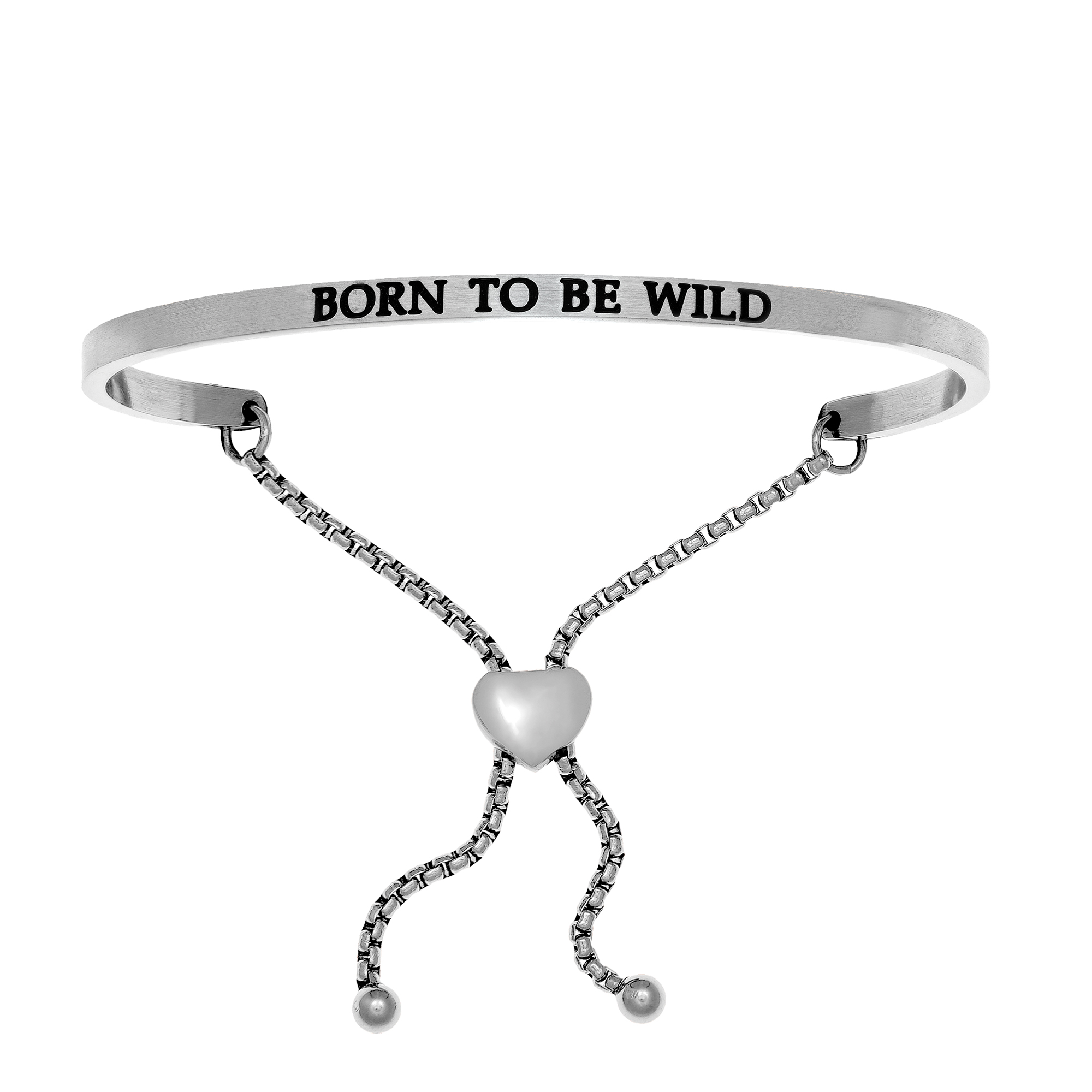 Intuitions Stainless Steel BORN TO BE WILD Diamond Accent Adjustable Bracelet Each of these bracelets carries a personal message of inspiration, spirituality or just plain fun. Meant to be worn alone or stacked together for a smart, contemporary look, they're a great self-purchase or as a gift for family or friends. Intuitions are made of stainless steel and come in two styles standard cuff or friendship and fit practically any wrist. Intuitions Jewelry makes the difference in your daily life by designing and creating bracelets and bangles with motivational quotes to inspire you and your loved ones. Giving back $.25 of each bracelet to BABY2BABY