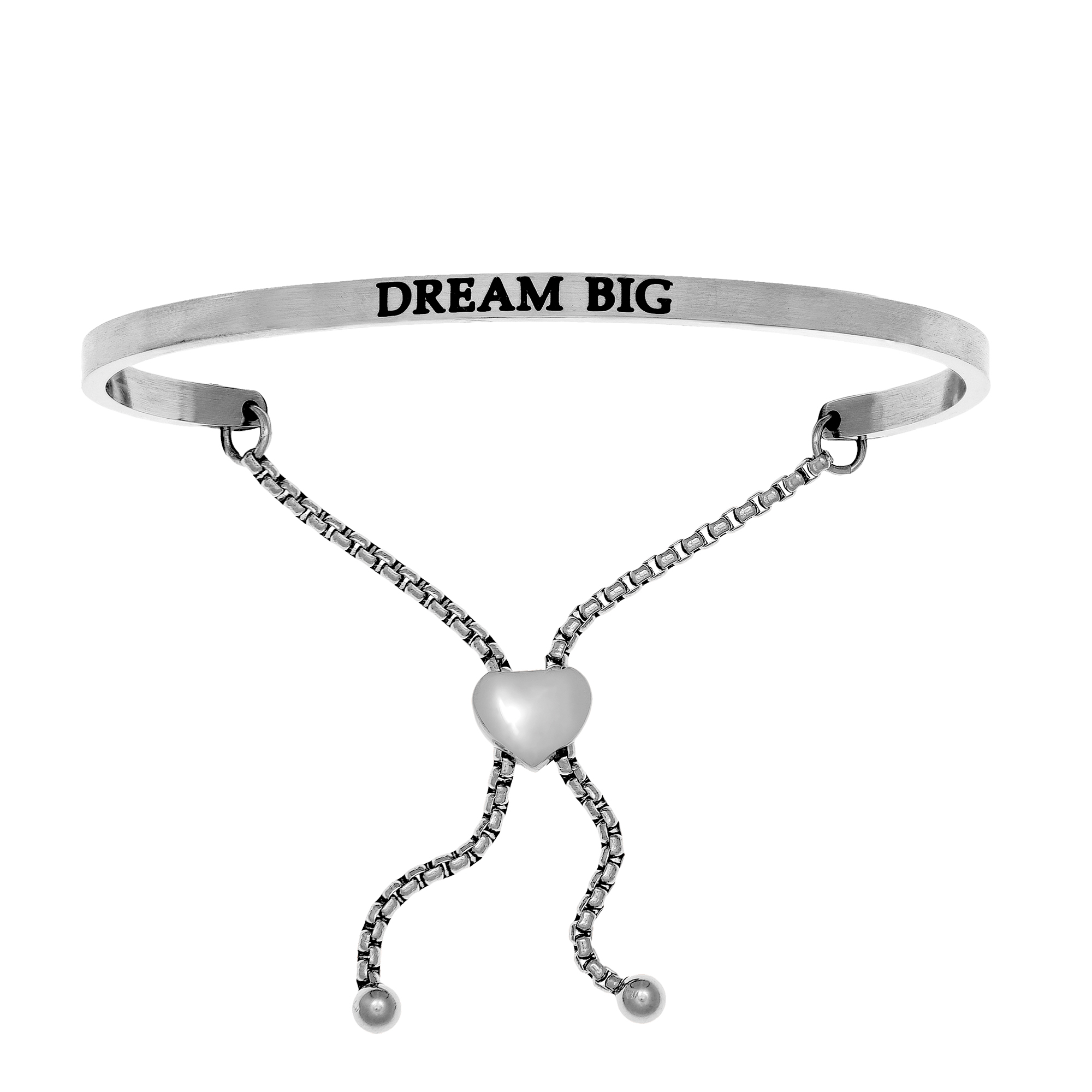 Intuitions Stainless Steel DREAM BIG Diamond Accent Adjustable Bracelet Each of these bracelets carries a personal message of inspiration, spirituality or just plain fun. Meant to be worn alone or stacked together for a smart, contemporary look, they're a great self-purchase or as a gift for family or friends. Intuitions are made of stainless steel and come in two styles standard cuff or friendship and fit practically any wrist. Intuitions Jewelry makes the difference in your daily life by designing and creating bracelets and bangles with motivational quotes to inspire you and your loved ones. Giving back $.25 of each bracelet to BABY2BABY