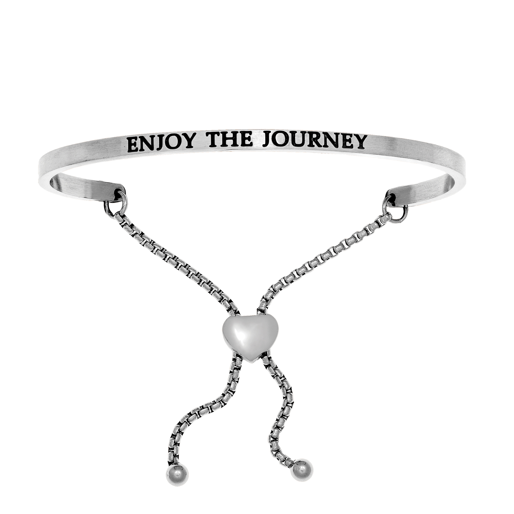 Intuitions Stainless Steel ENJOY THE JOURNEY Diamond Accent Adjustable Bracelet Each of these bracelets carries a personal message of inspiration, spirituality or just plain fun. Meant to be worn alone or stacked together for a smart, contemporary look, they're a great self-purchase or as a gift for family or friends. Intuitions are made of stainless steel and come in two styles standard cuff or friendship and fit practically any wrist. Intuitions Jewelry makes the difference in your daily life by designing and creating bracelets and bangles with motivational quotes to inspire you and your loved ones. Giving back $.25 of each bracelet to BABY2BABY